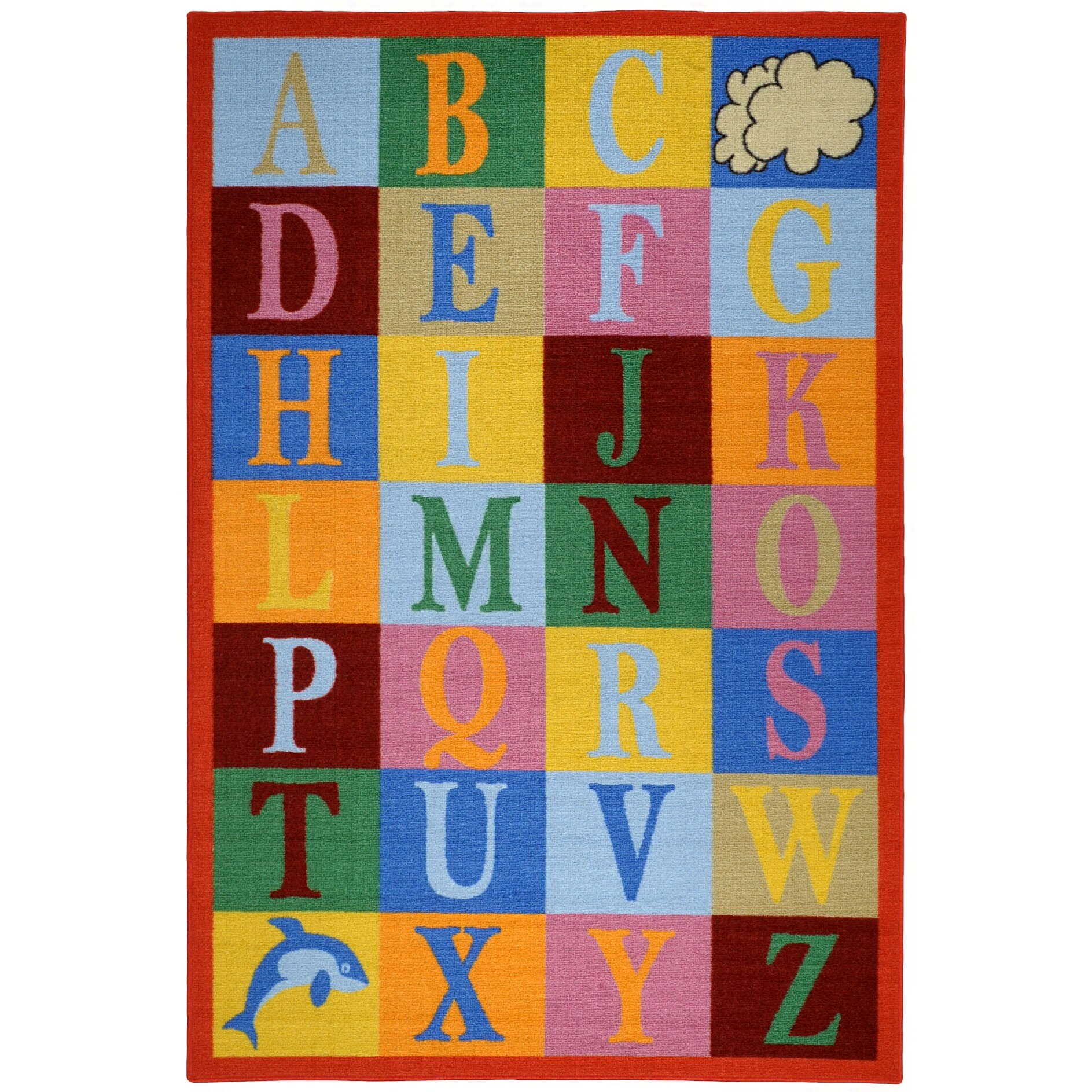 Learning Rug: Bambino Kids Fun Time Educational Alphabet Boxes Area Rug