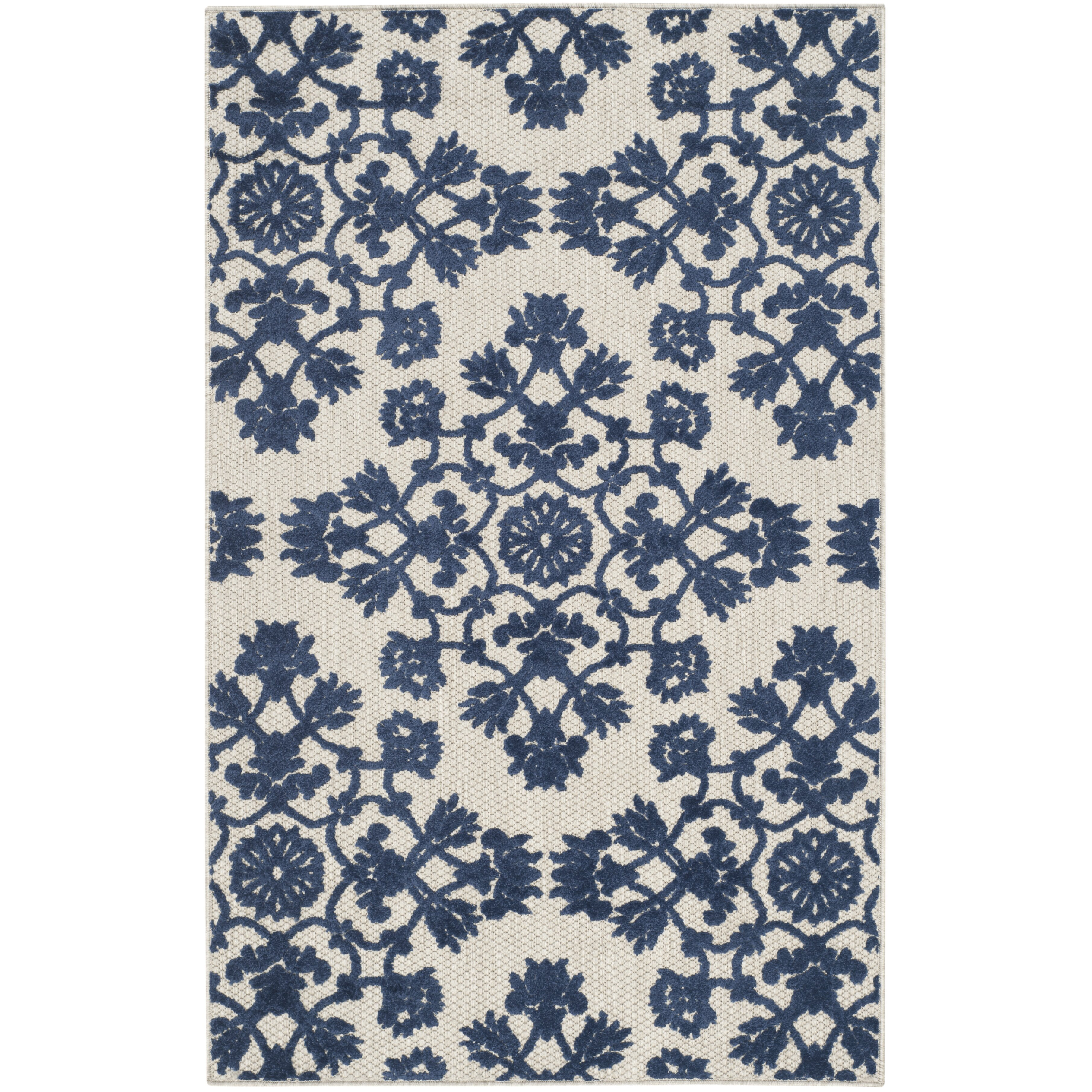 Cottage Light Gray Royal Blue Indoor Outdoor Area Rug