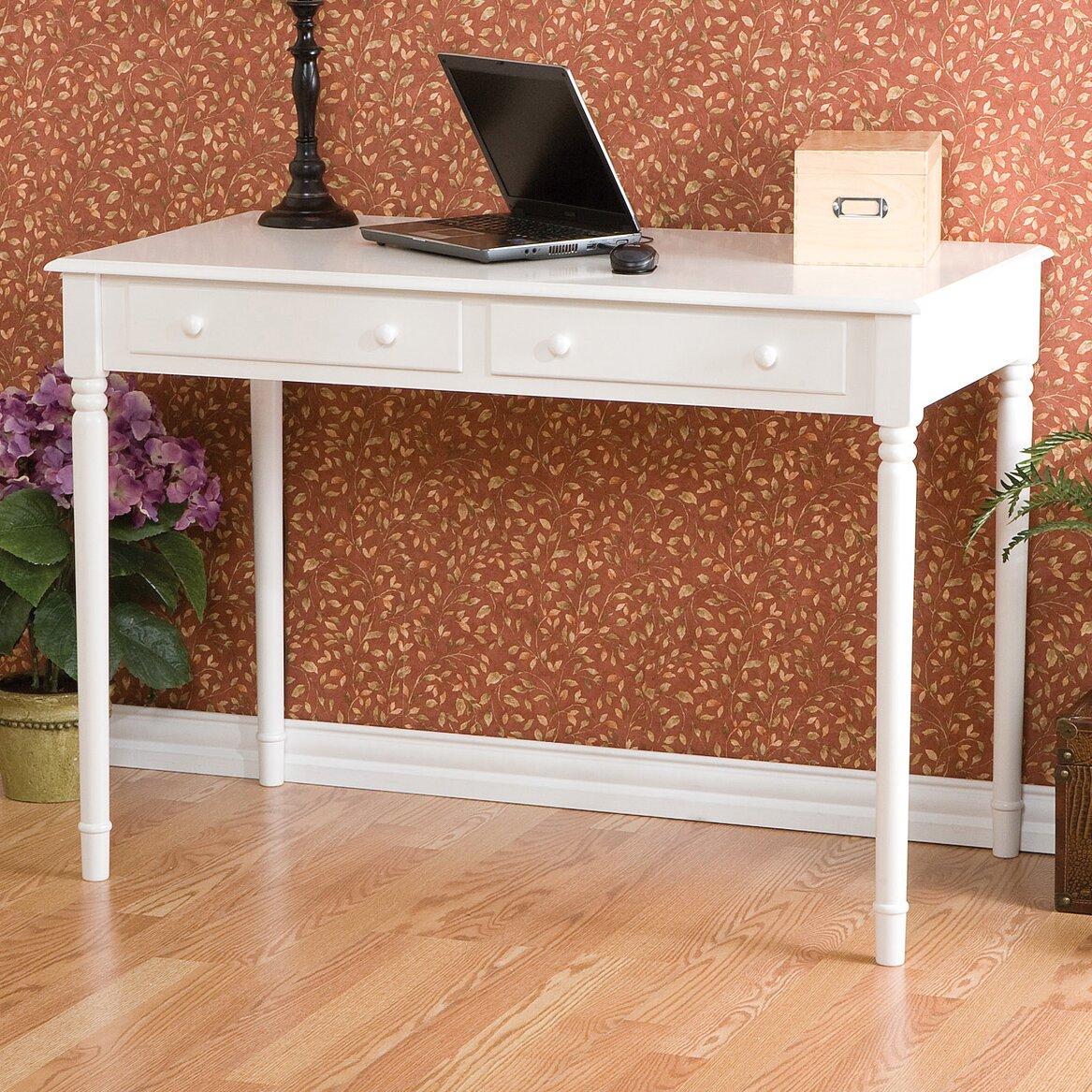 Alcott Hill Jowchet 2 Drawer Writing Table In Crisp White