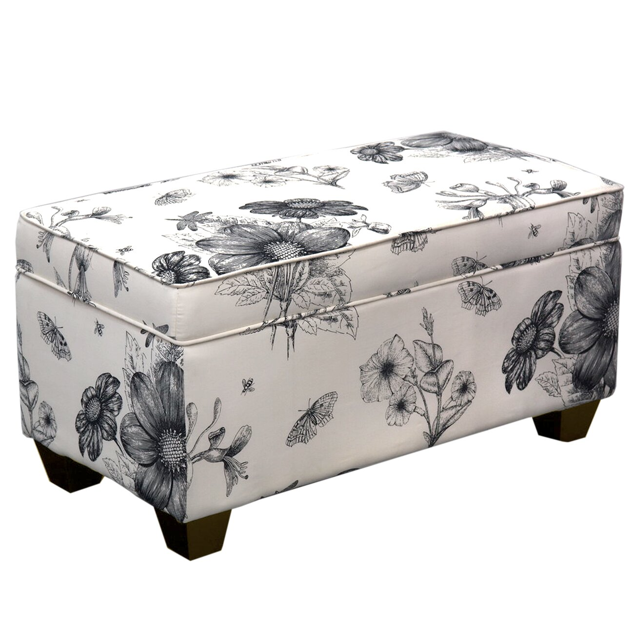 Alcott Hill Upholstered Storage Bedroom Bench In Black White Floral Reviews Wayfair