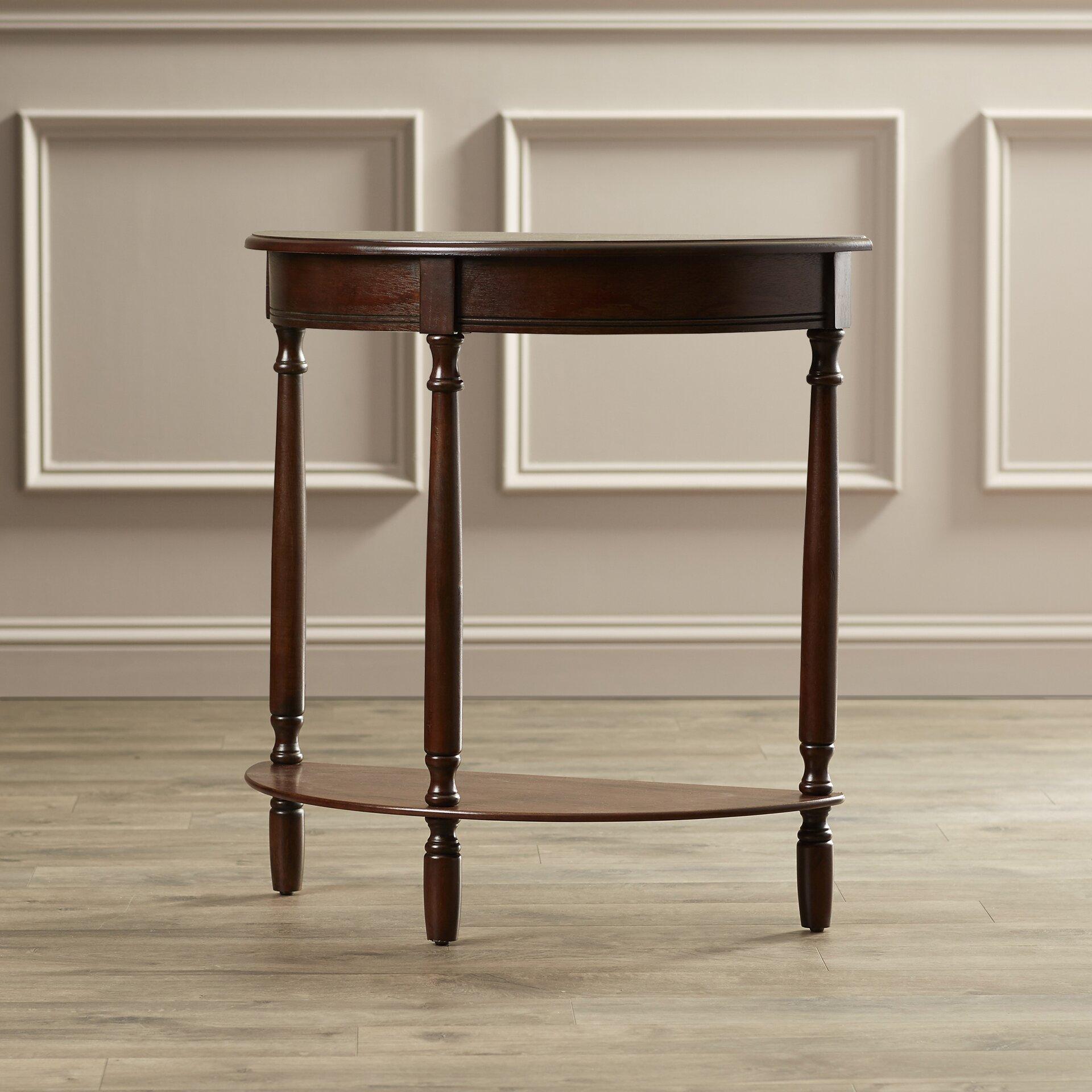charlton home spelman crescent half moon console table reviews wayfair. Black Bedroom Furniture Sets. Home Design Ideas