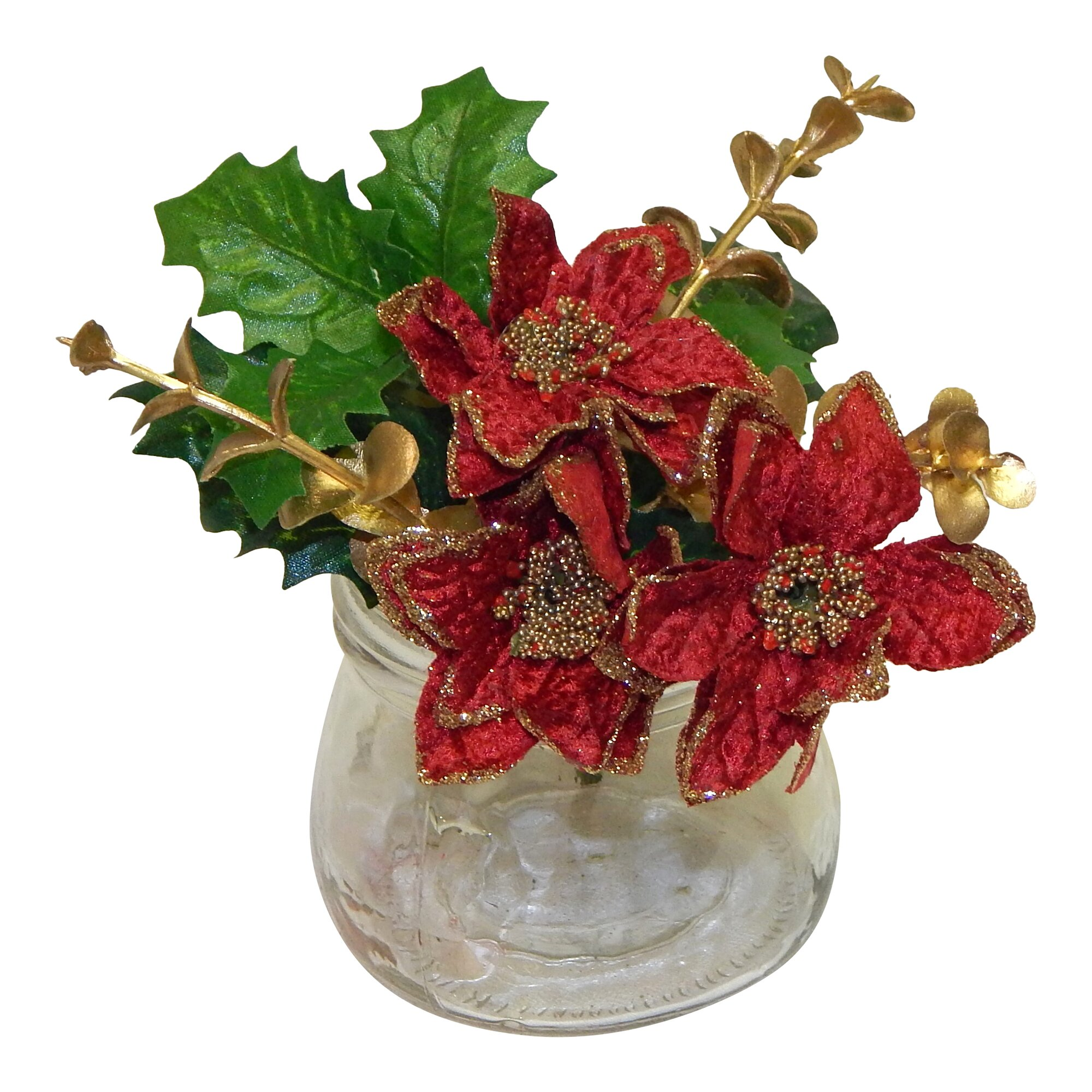 Poinsettia arrangement wayfair for Poinsettia arrangements