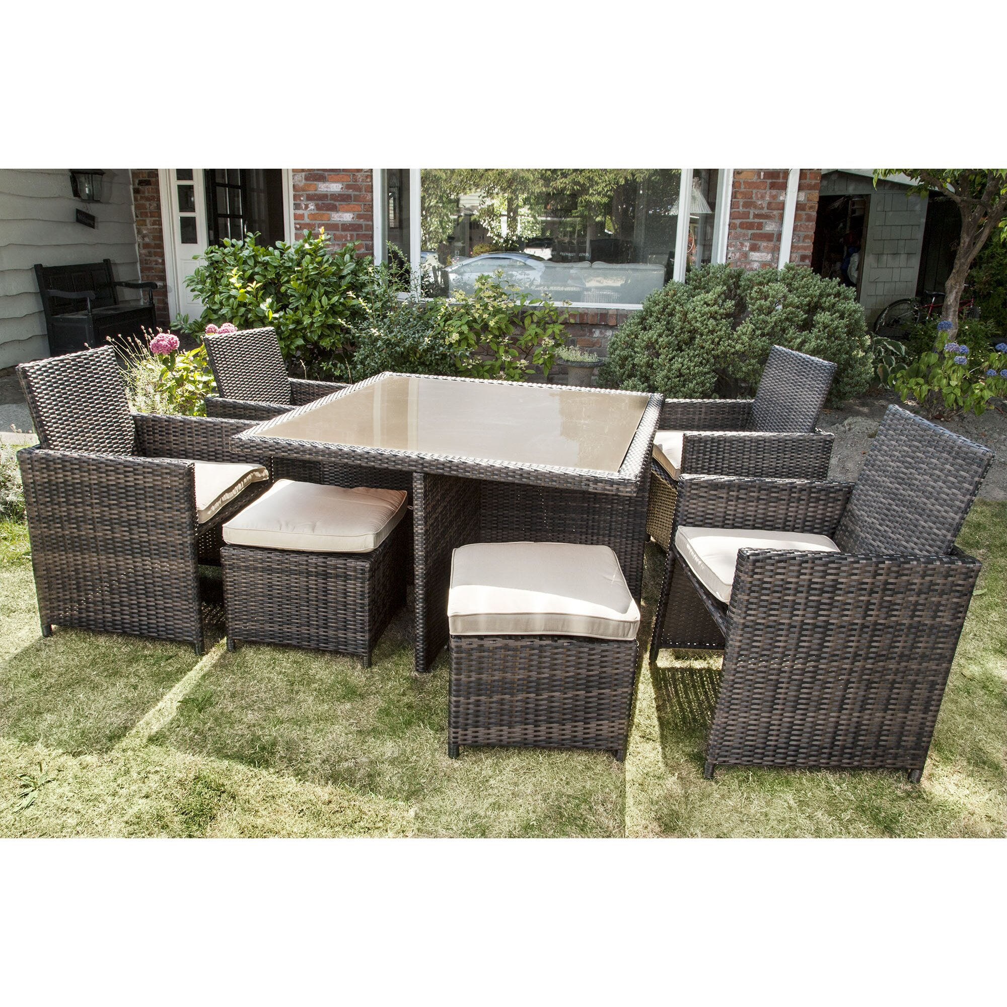 Brayden Studio Keesler 9 Piece Dining Set With Cushions Reviews Wayfair