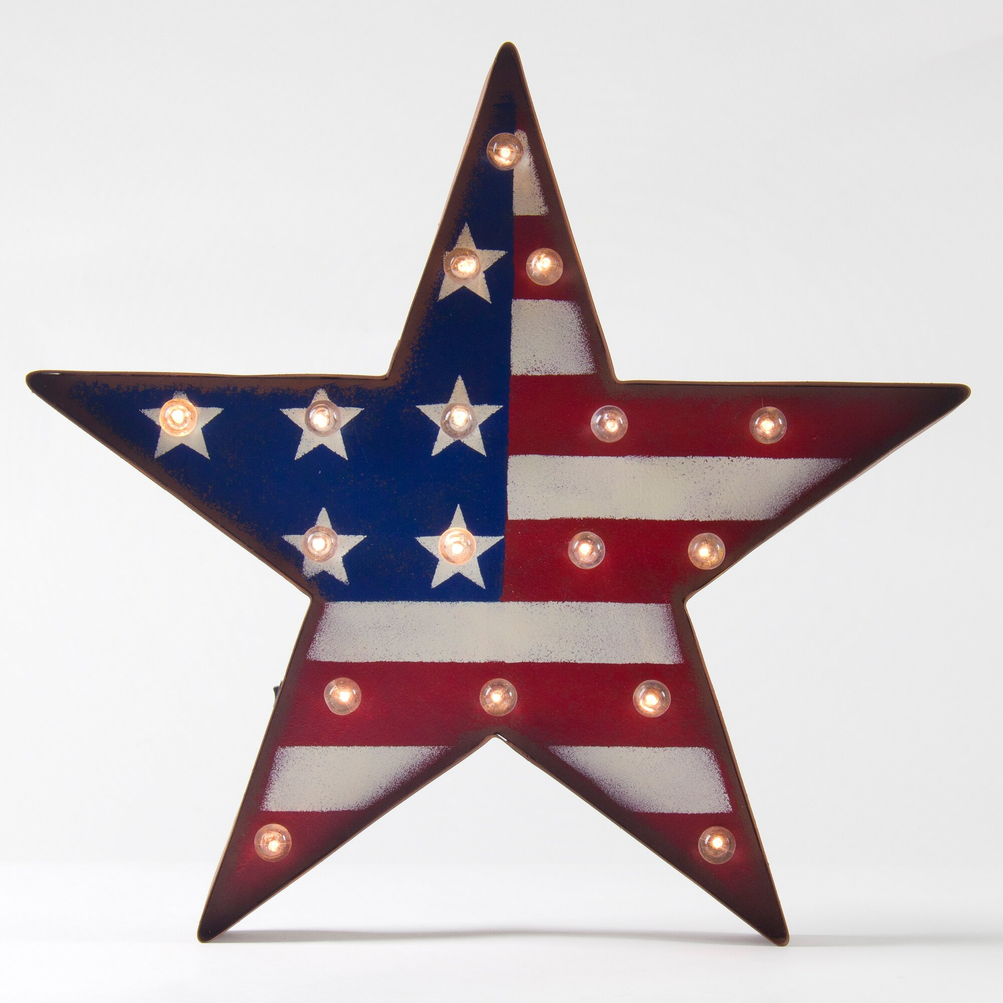 Americana Wall Decor Plaques Signs: Glitz Home Patriotic Marquee LED Lighted Star Sign Wall