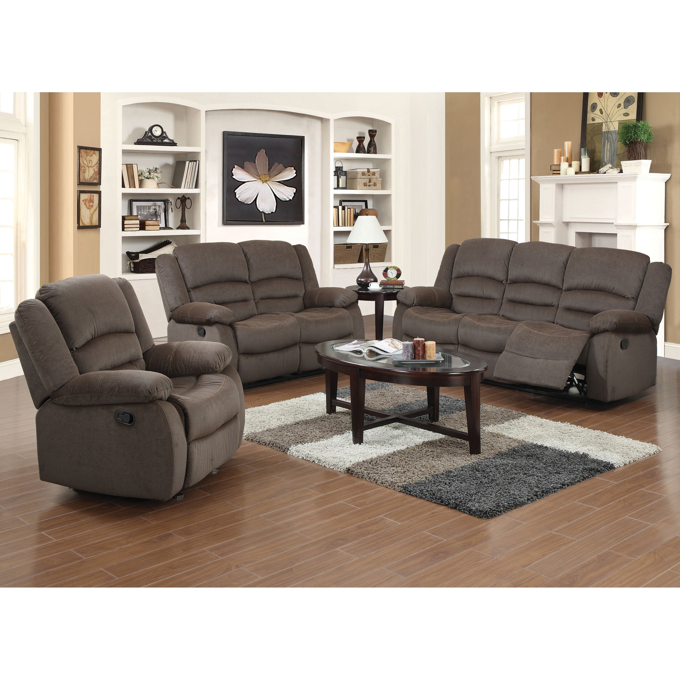 piece recliner sofa set by container
