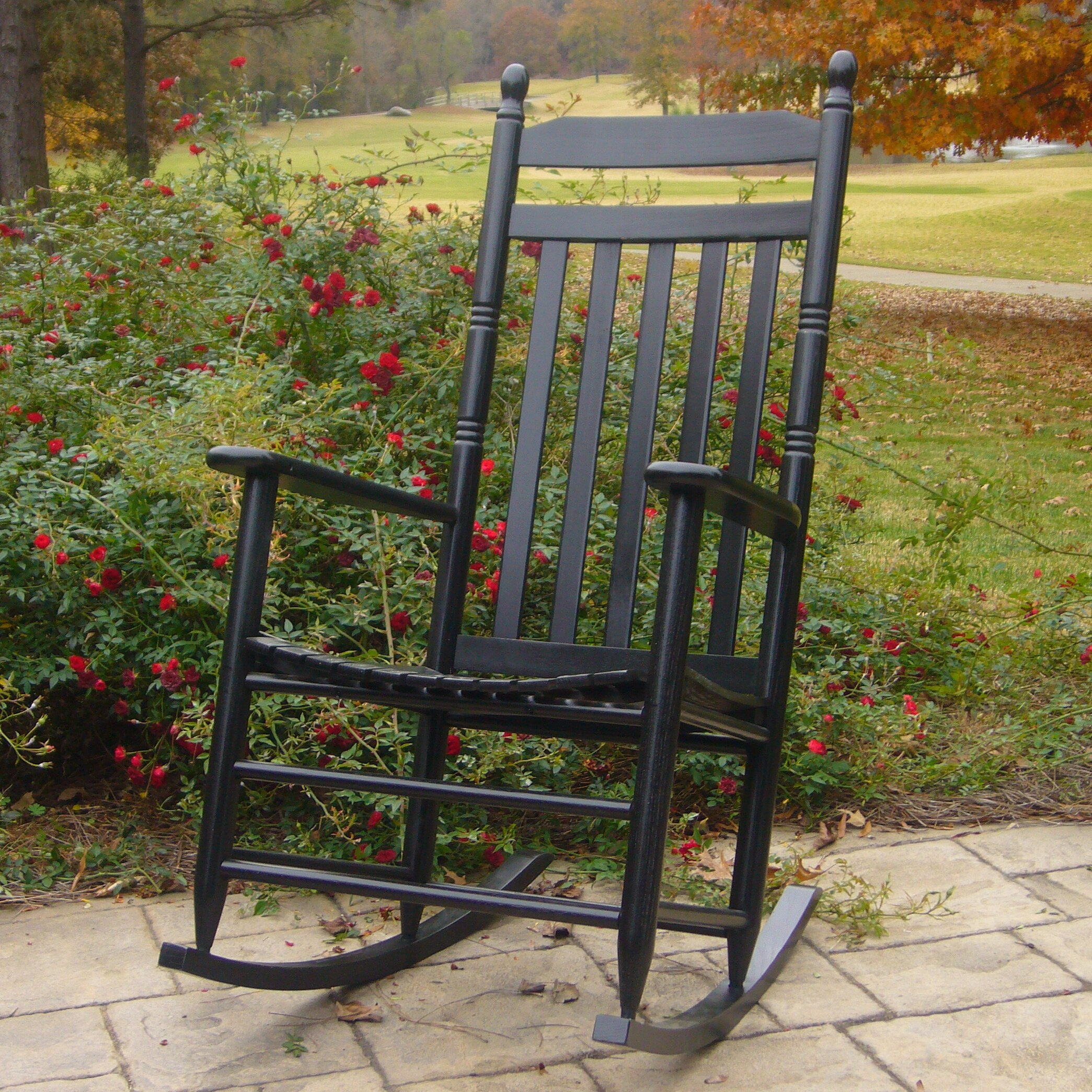 Outdoor Patio Furniture ... Wood Patio Rocking Chairs August Grove SKU ...