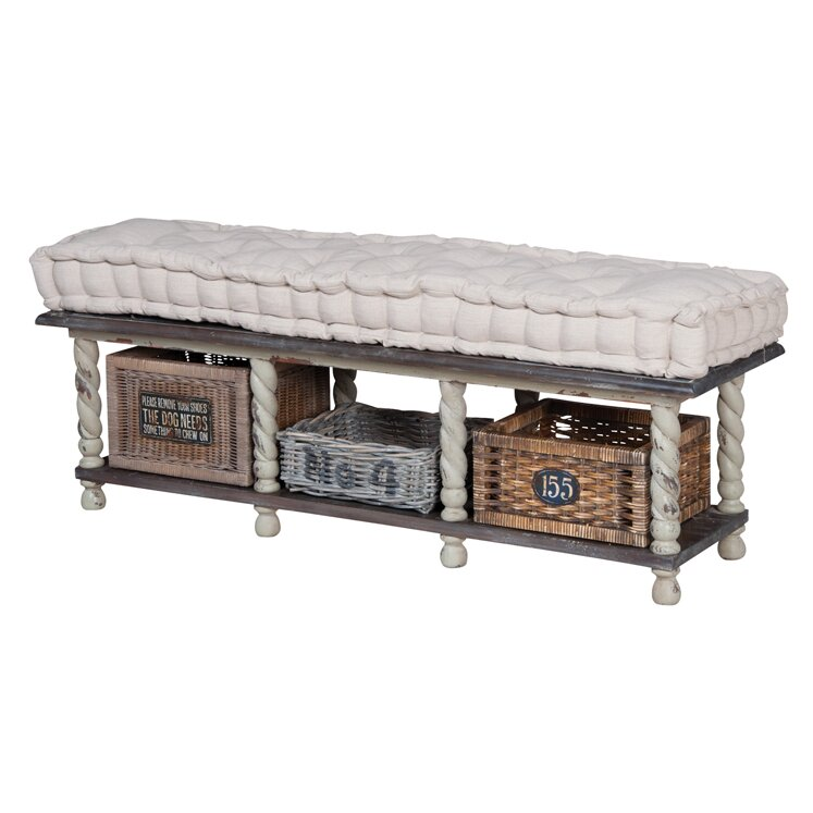 Bella Farmhouse Wood Storage Bedroom Bench Wayfair