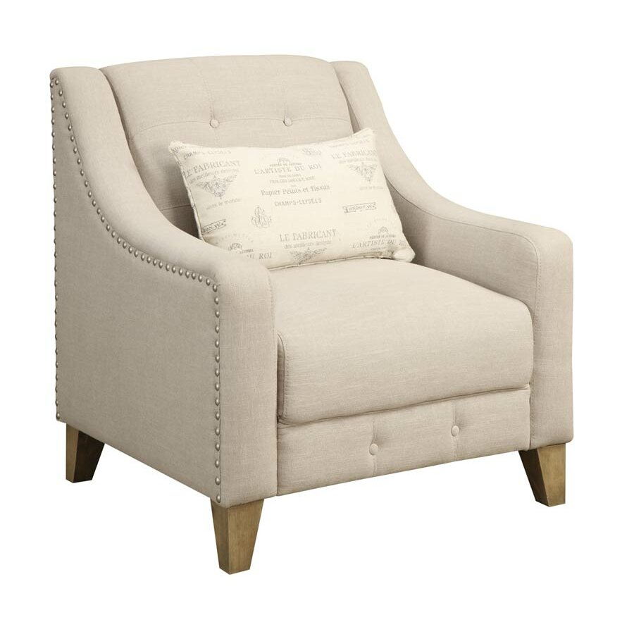 Coastal Accent Chair Beige Fabric Arms: One Allium Way Beige Arm Chair & Reviews