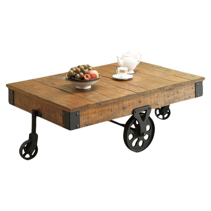 Railroad Style Coffee Table Square Wood Box Second