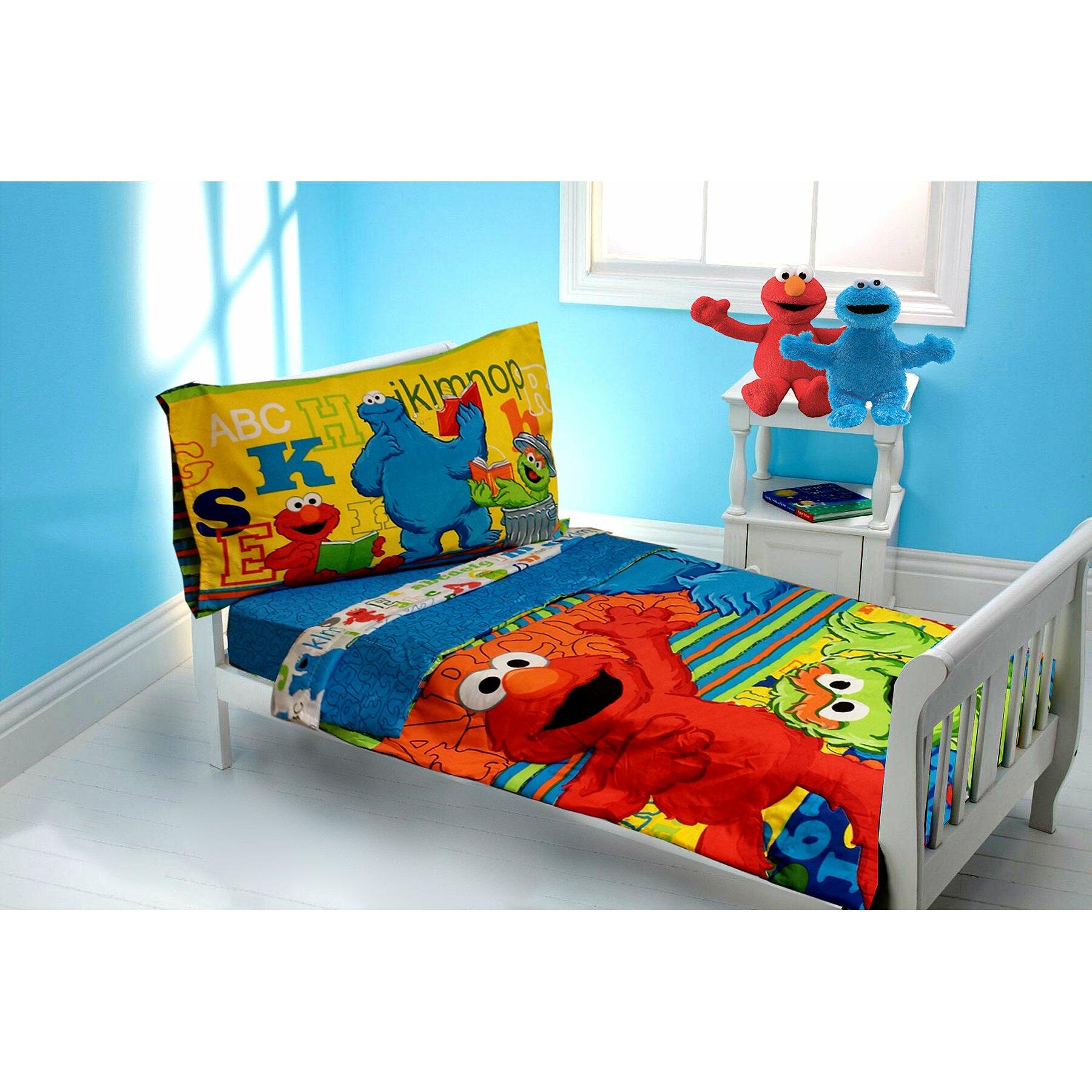 Sesame Street Elmo ABC 123 4 Piece Toddler Bedding Set ...