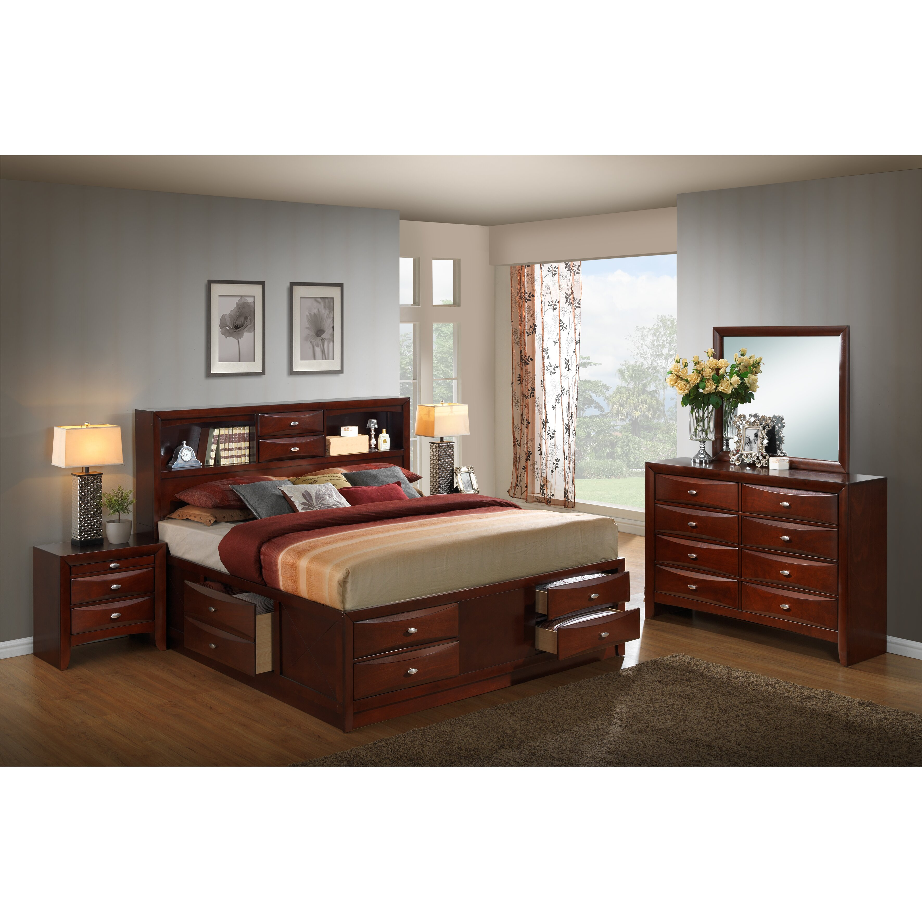 emily storage 5 piece bedroom set by roundhill furniture