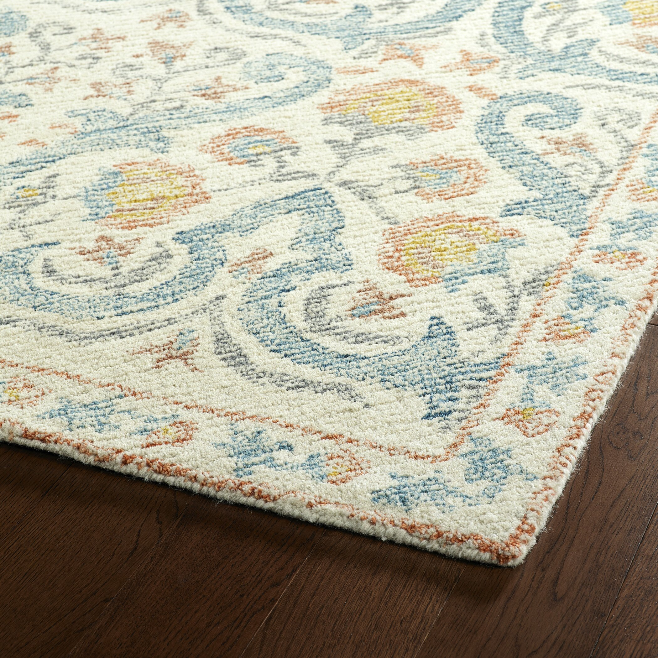 Bungalow Rose Habous Hand-Tufted Teal Area Rug & Reviews