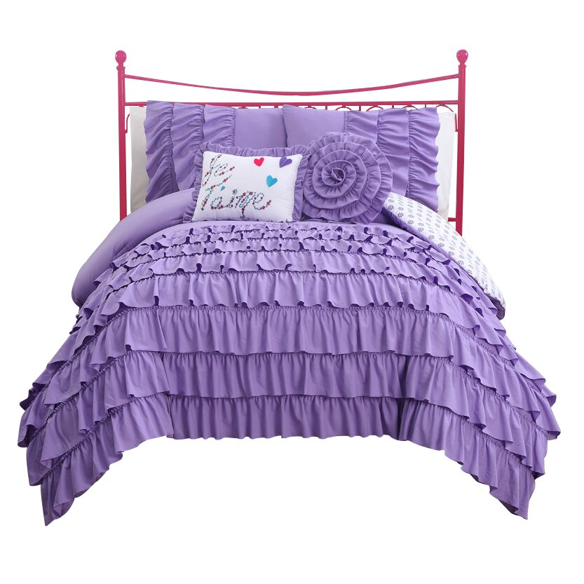 Girls purple ruffle bedding twin and full size set purple bedroom