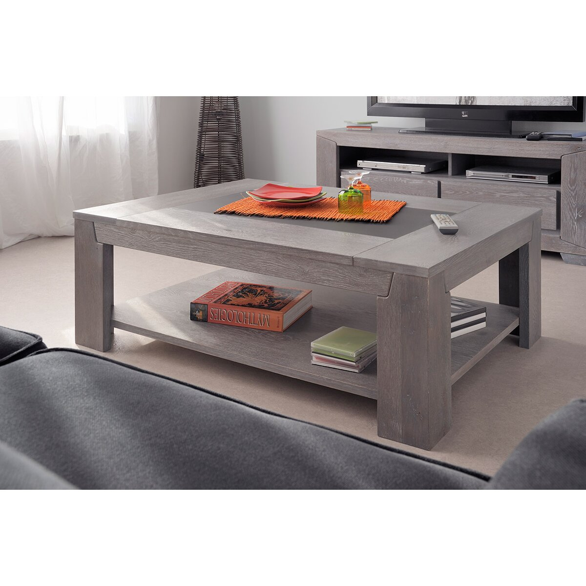 Parisot titan coffee table reviews wayfair - Table basse grise bois ...