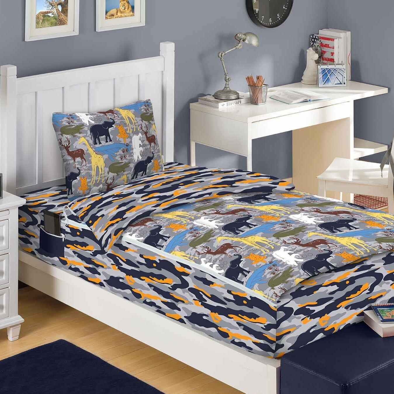Zipit bedding wild animals 3 piece bed in a bag set for Wild bedding