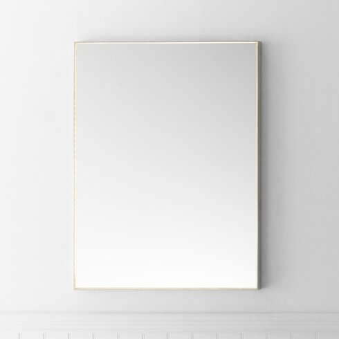 Contemporary 23 x 30 metal framed bathroom mirror w led Bathroom wall mirrors brushed nickel