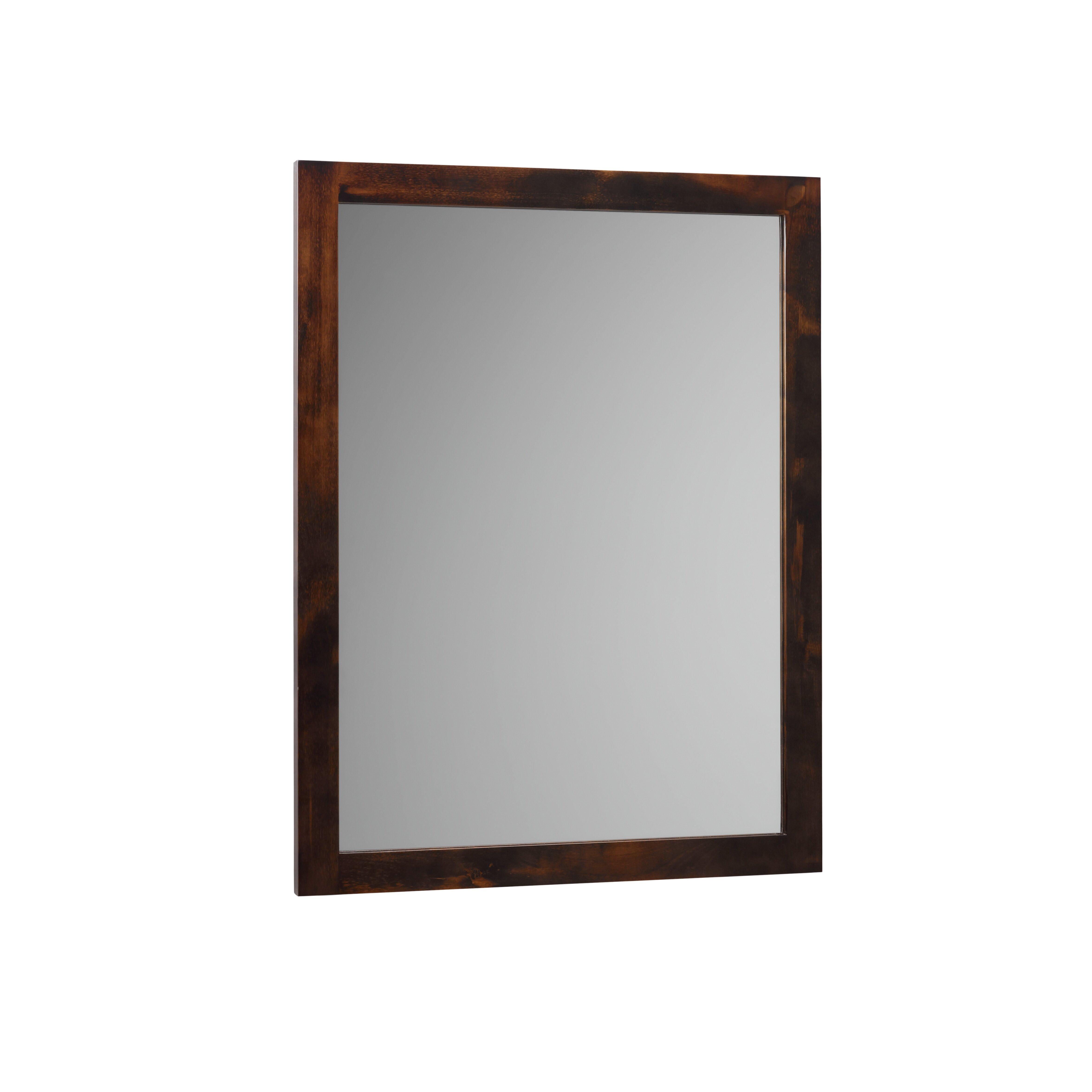 Contemporary Solid Wood Framed Bathroom Mirror in Vintage