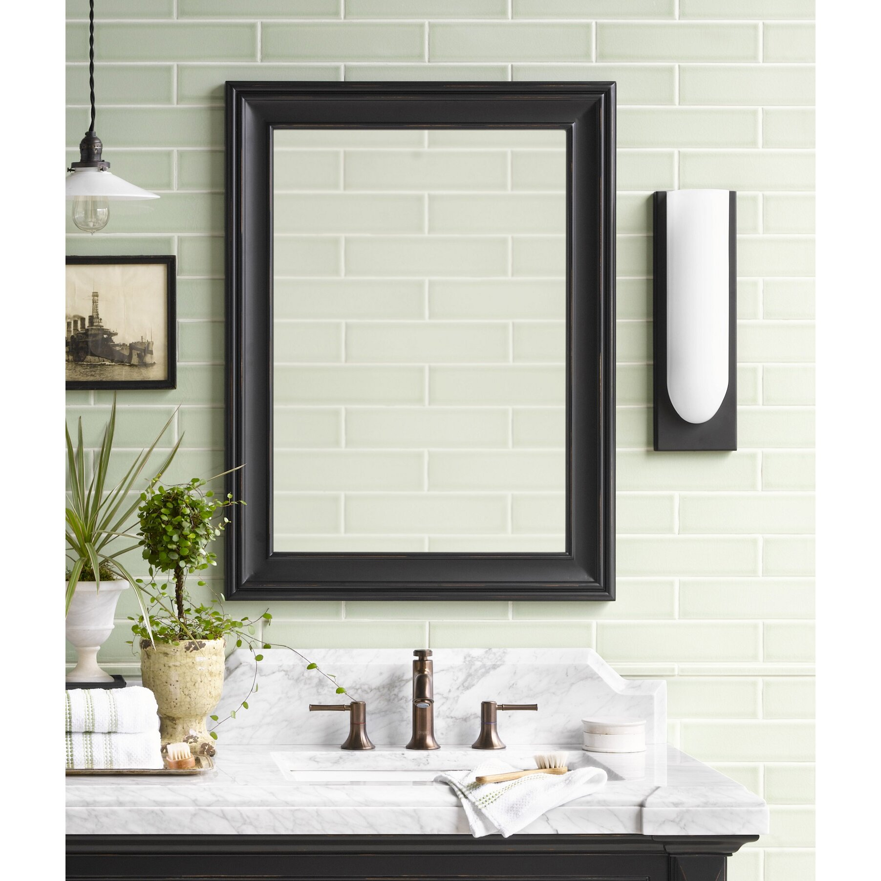Traditional 24 x 32 solid wood framed bathroom mirror in antique black wayfair for Cherry wood framed bathroom mirrors