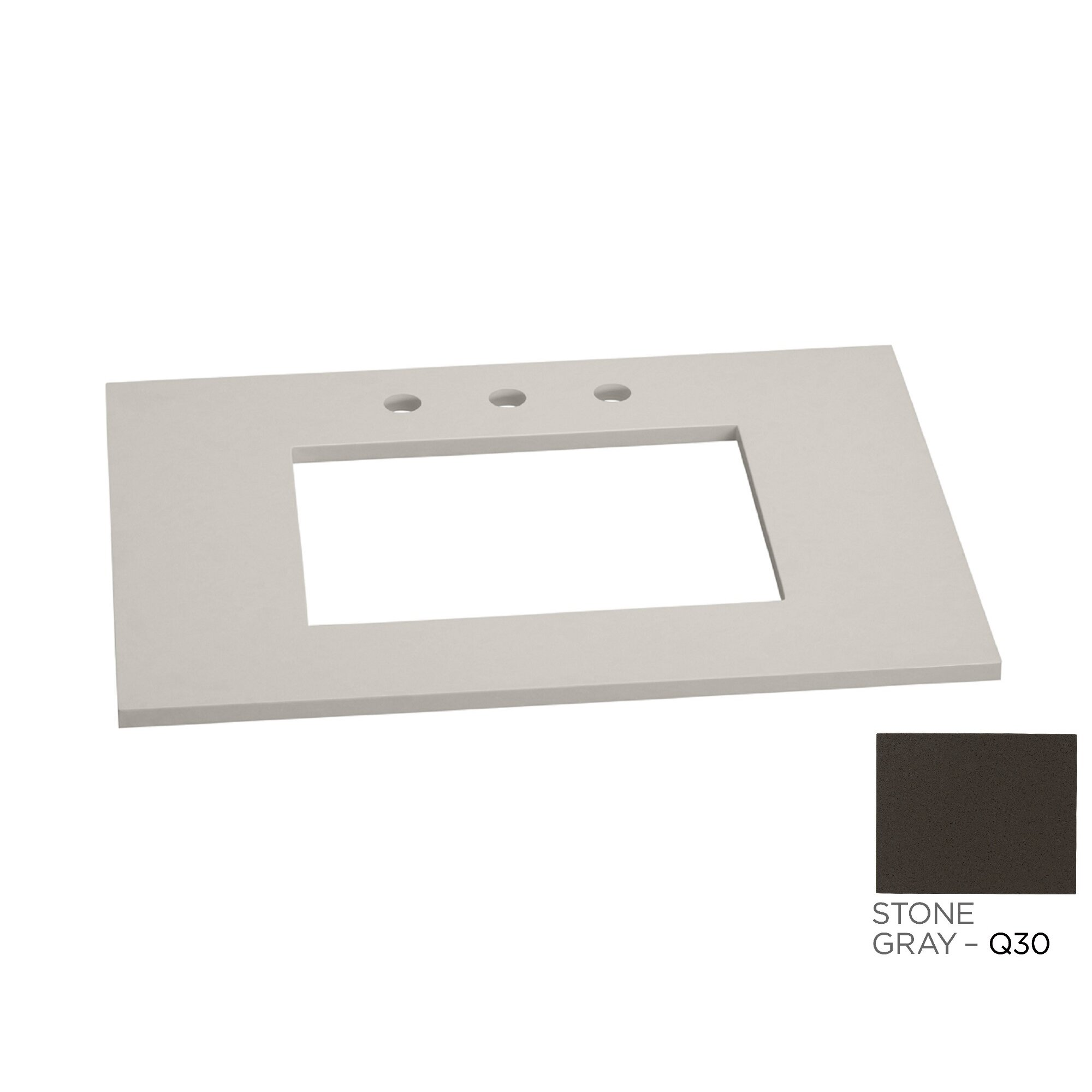 Ronbow Gray Vanity Top for Single Undermount Sink w/Widespread Faucet ...