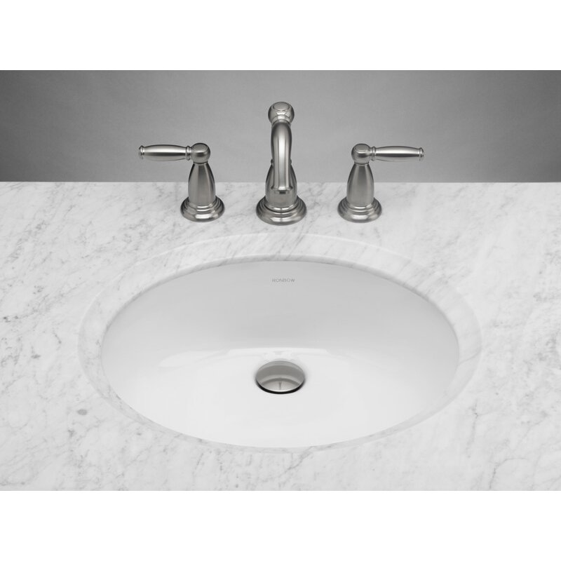 Ronbow Oval Ceramic Undermount Bathroom Sink In White