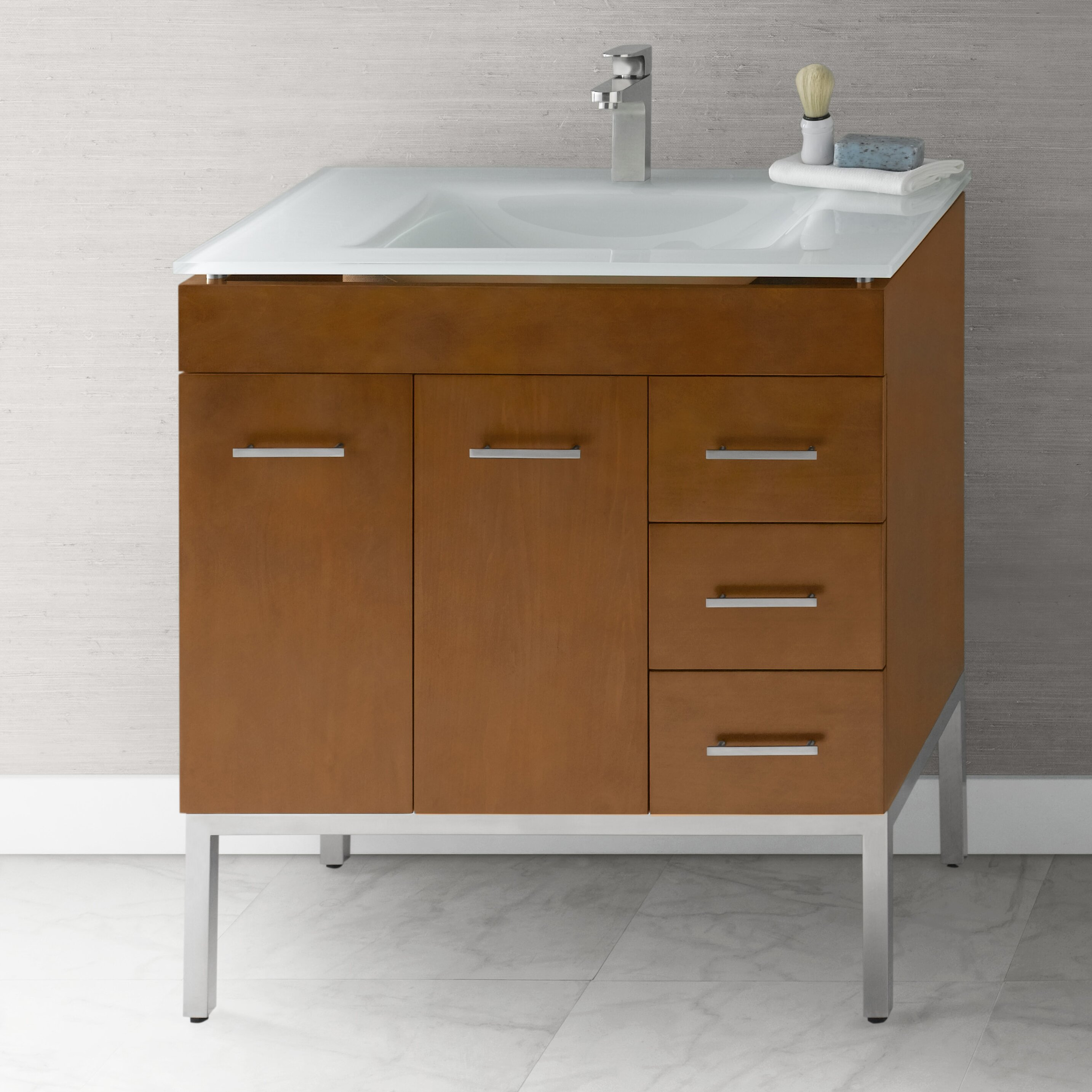 bathroom vanity base cabinet in cinnamon doors on left metal legs