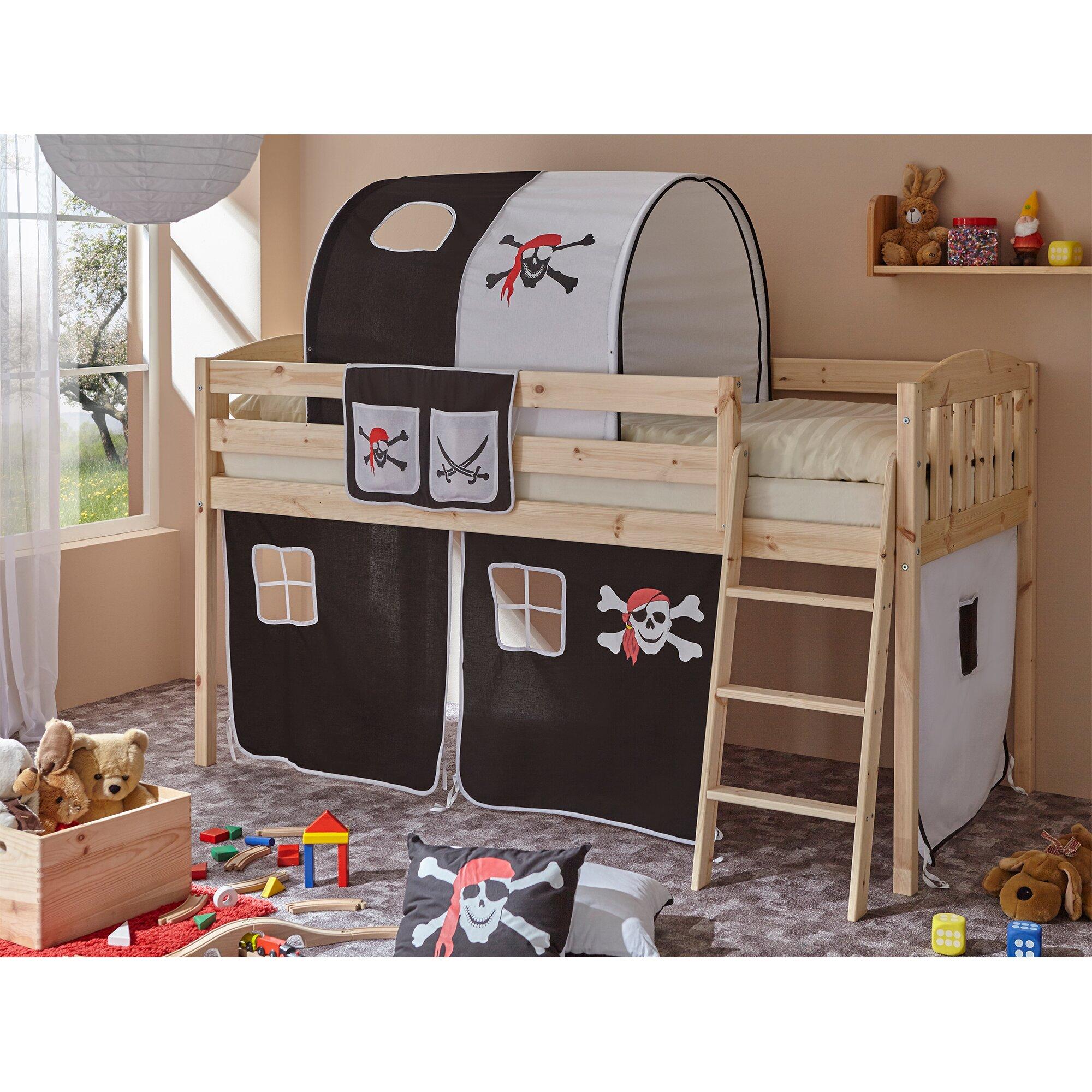 hochbett eric v mit vorhang 90 x 200 cm von ticaa. Black Bedroom Furniture Sets. Home Design Ideas
