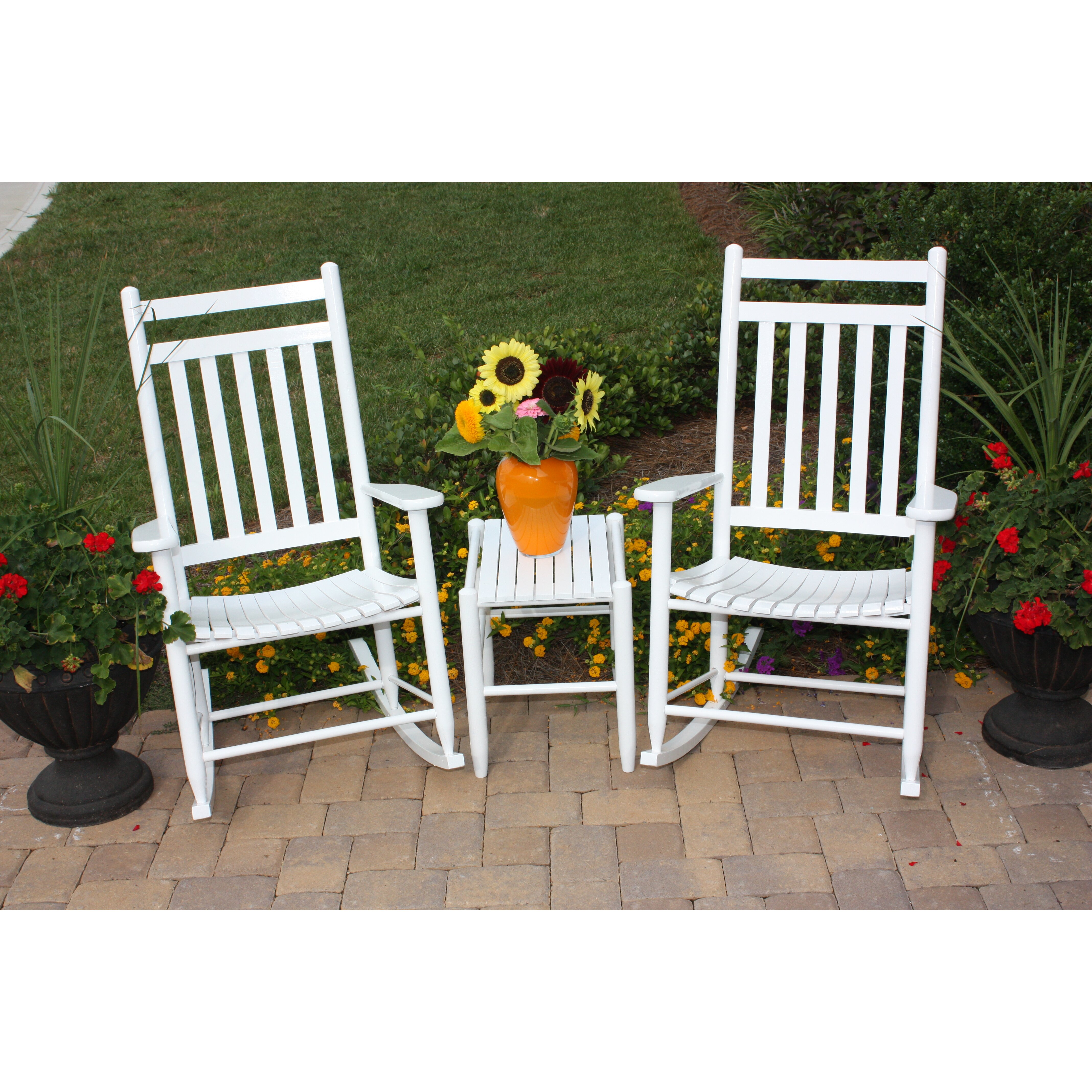 Dixie Seating 3 Piece Adult Slat Seat Porch Rocking Chair ...
