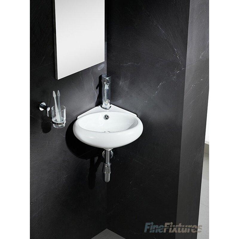 Modern Corner Sink : Modern Vitreous Round Corner Wall Hung Sink by Fine Fixtures