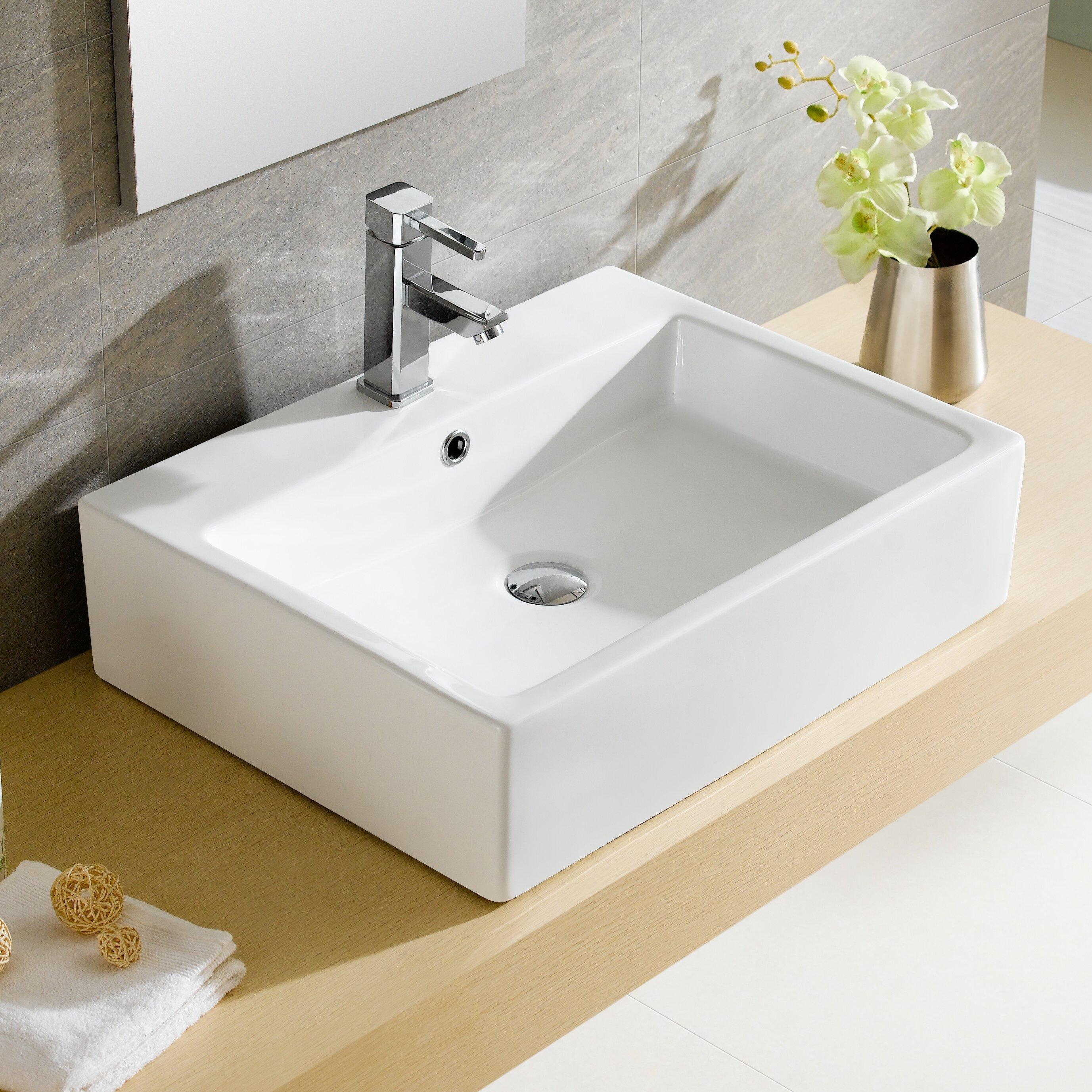 ... Rectangular Vessel Bathroom Sink with Overflow & Reviews Wayfair