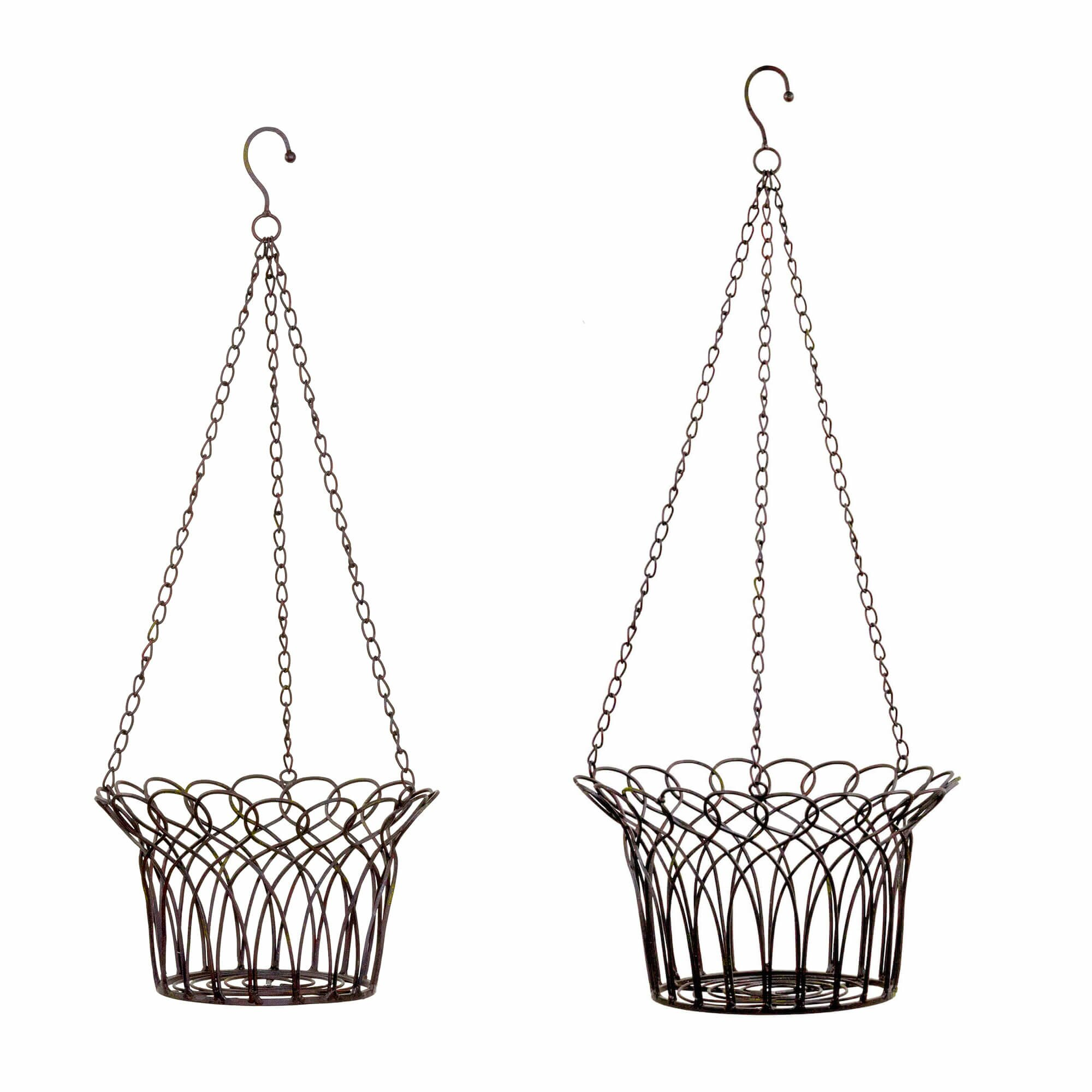 Metal Flower Hanging Baskets : Piece novelty hanging basket set wayfair