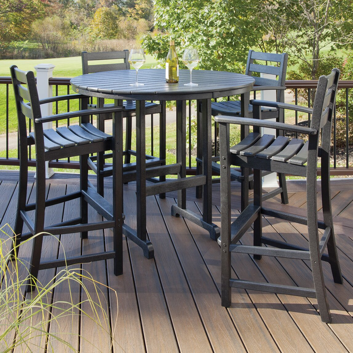 Bar Furniture Sets: Breakwater Bay Promfret Outdoor 5 Piece Bar Height Dining