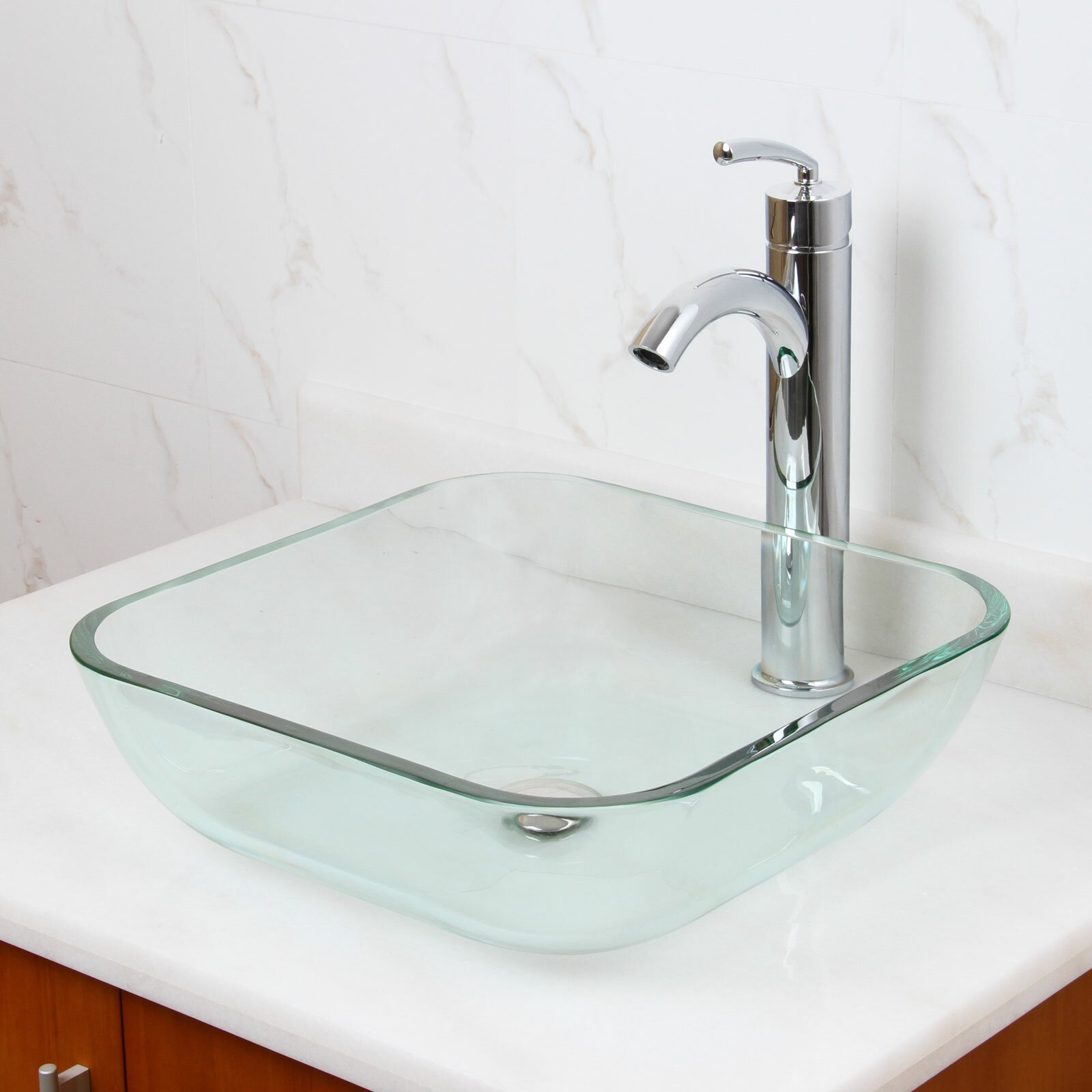 Tempered Glass Vessel Sink : Elite Transparent Tempered Square Glass Vessel Bathroom Sink Wayfair