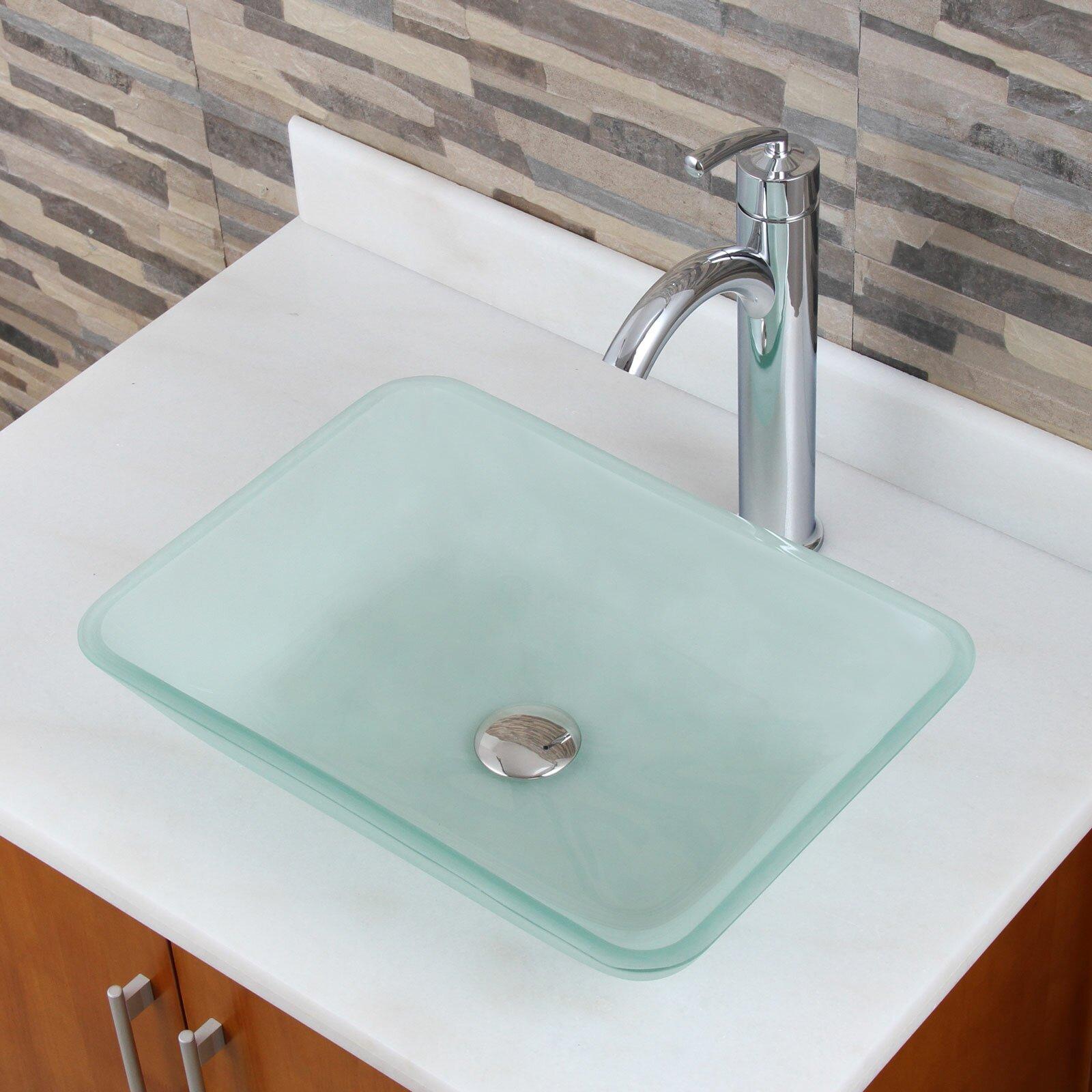 Rectangular Glass Vessel Sink : ... Tempered Rectangular Glass Vessel Bathroom Sink & Reviews Wayfair