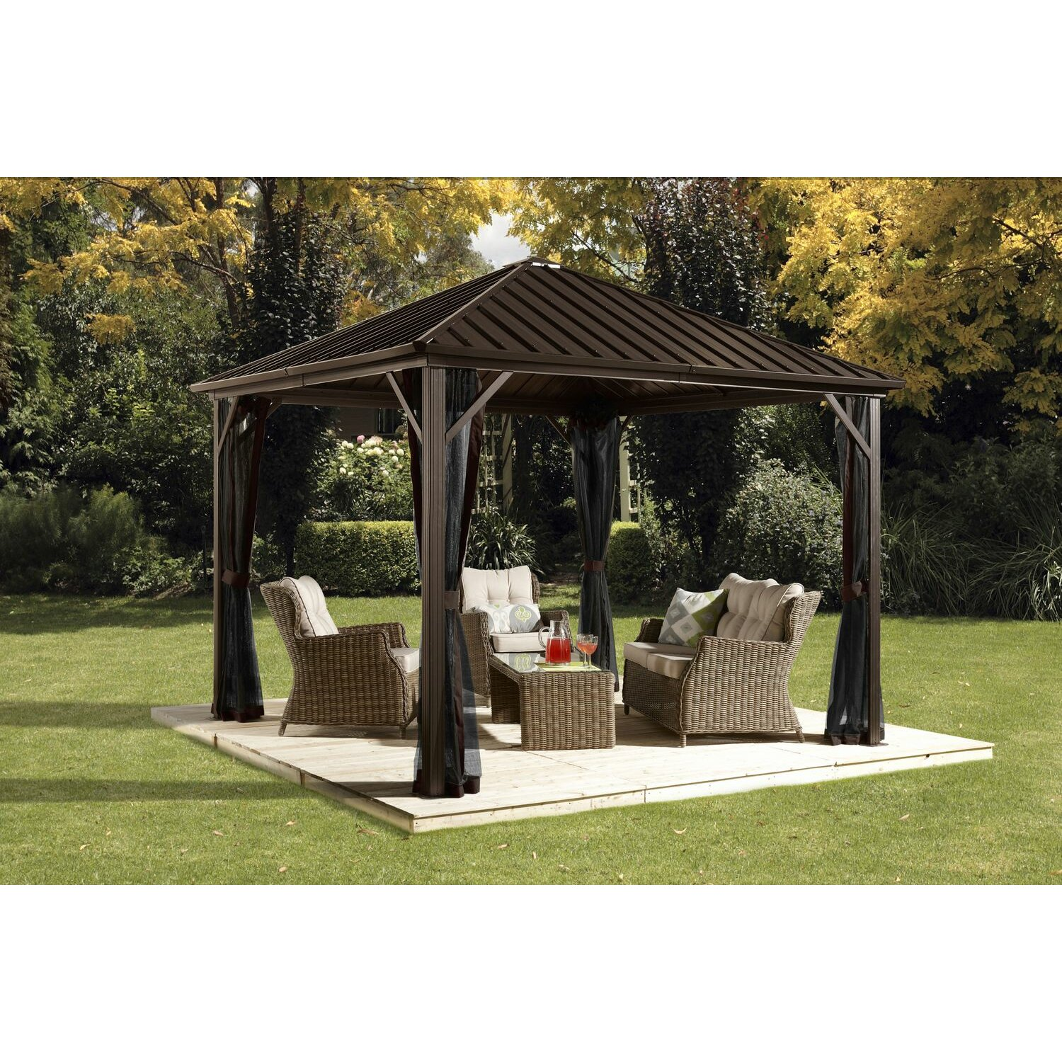 Sojag dakota 10 39 x 12 39 gazebo reviews wayfair for Abri mural hardtop gazebo