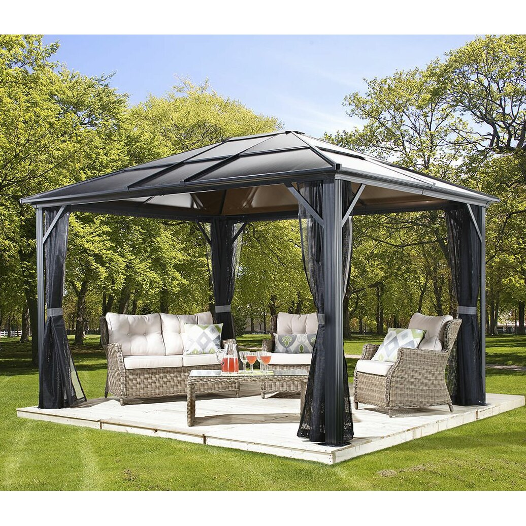 Sojag meridien 16 ft w x 11 ft gazebo reviews wayfair for Abri mural sun shelter