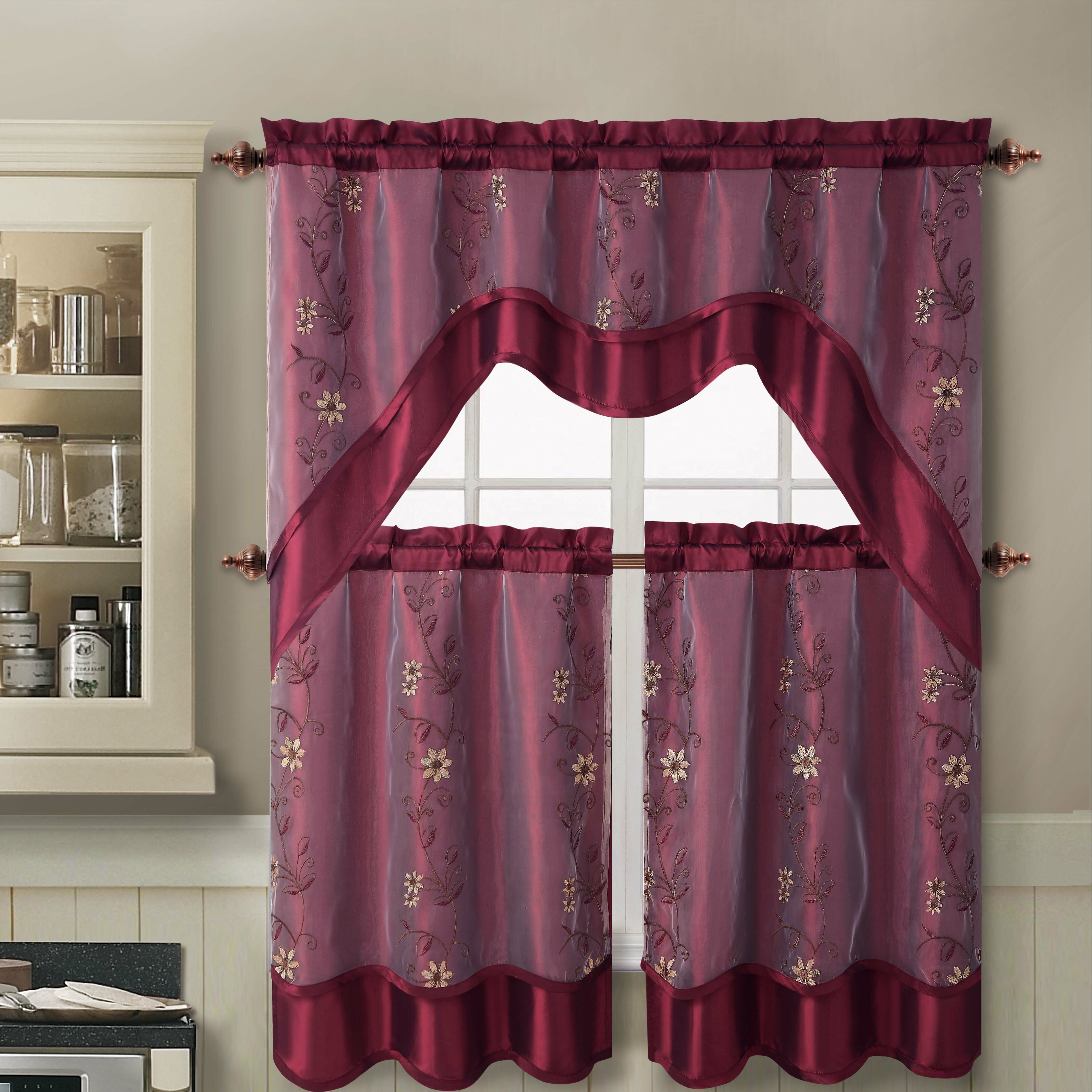 red kitchen curtains - window curtains & drapes