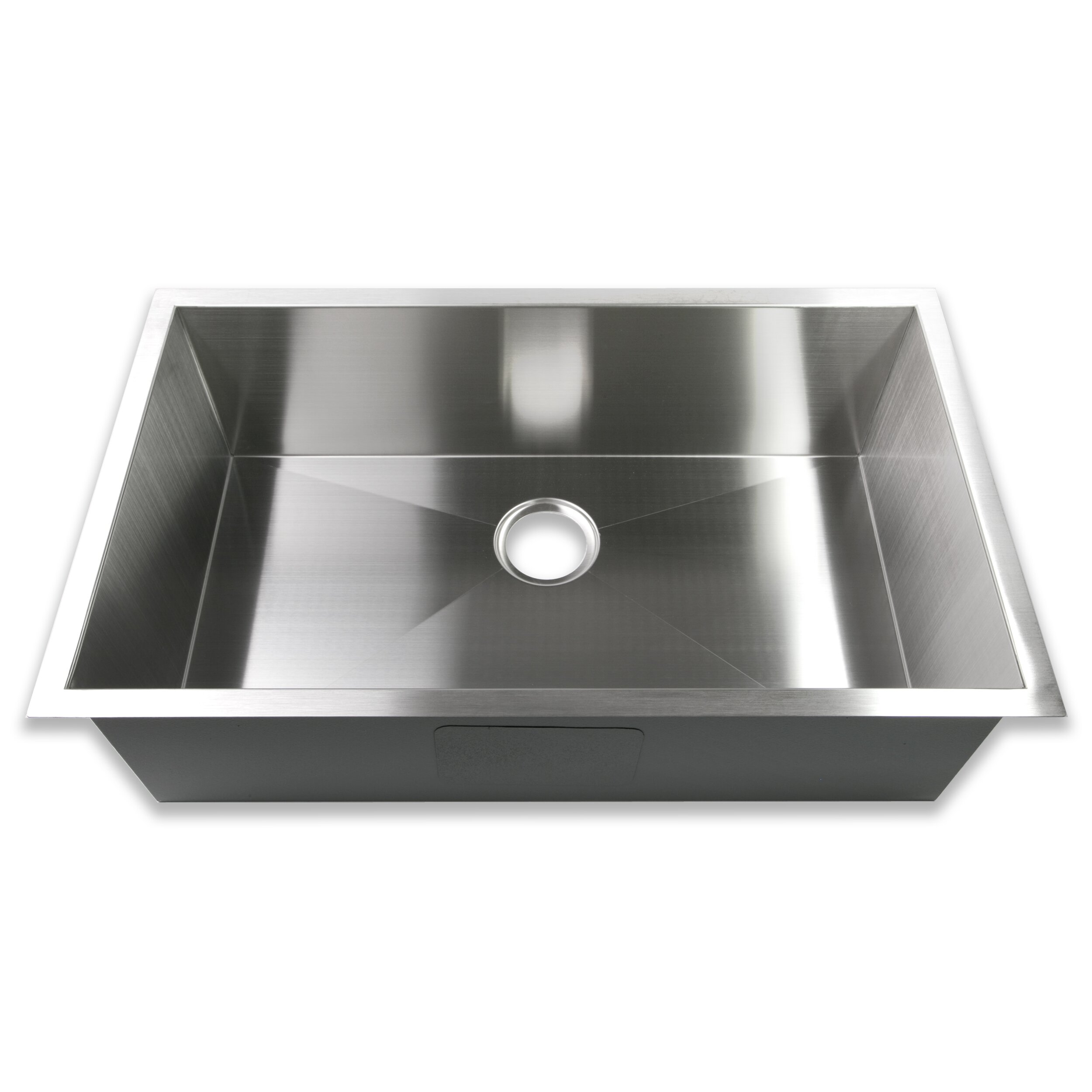 16 Gauge Stainless Steel Sink : ... Single Bowl 16 Gauge Stainless Steel Handmade Zero Radius Kitchen Sink