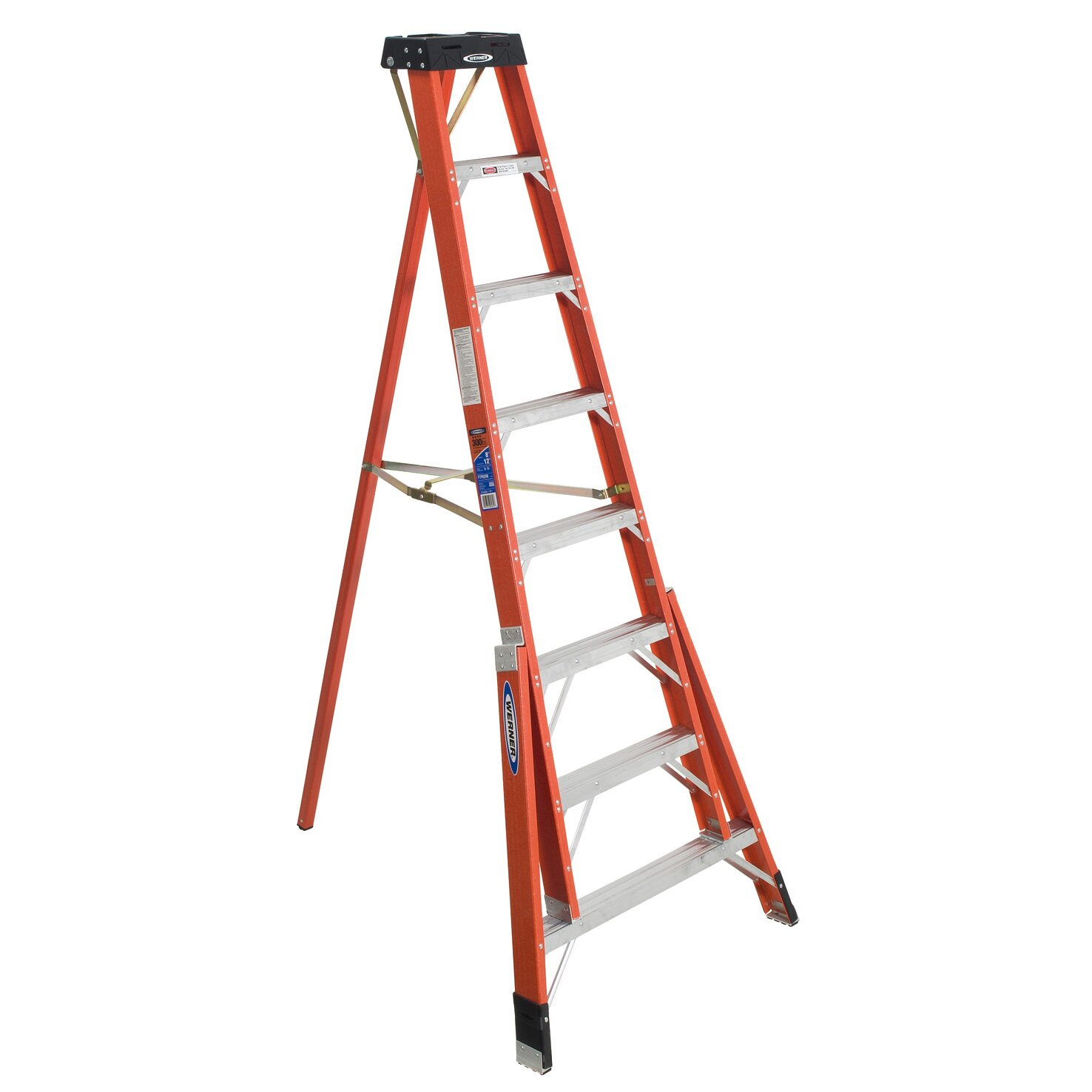 8 Ft Aluminum Tripod Step Ladder With 300 Lb Load