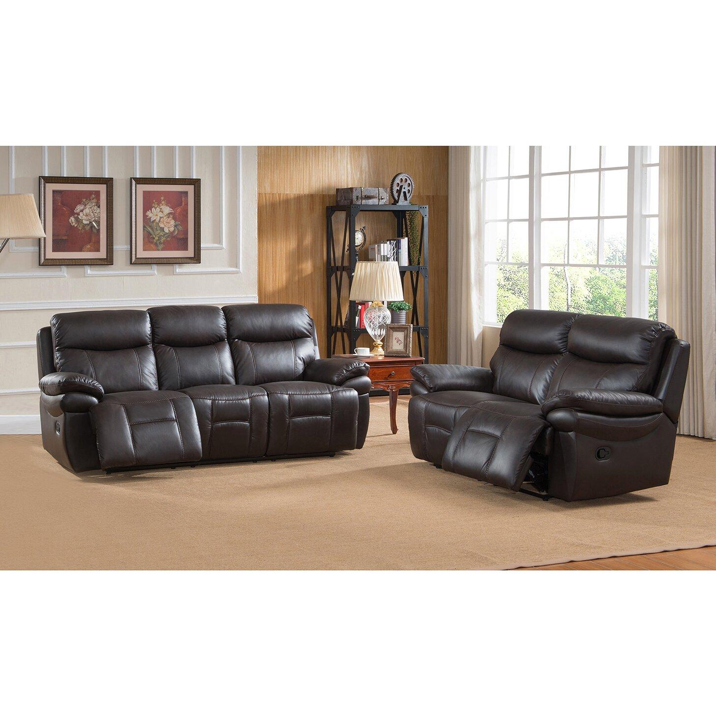 Rushmore Leather Recliner Sofa And Loveseat Set Wayfair