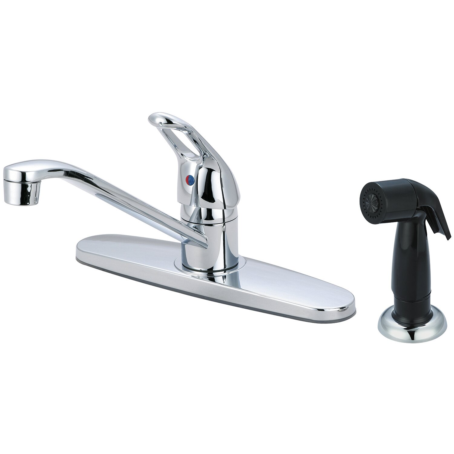Olympia Faucets Single Handle Centerset Kitchen Faucet with Side Spray