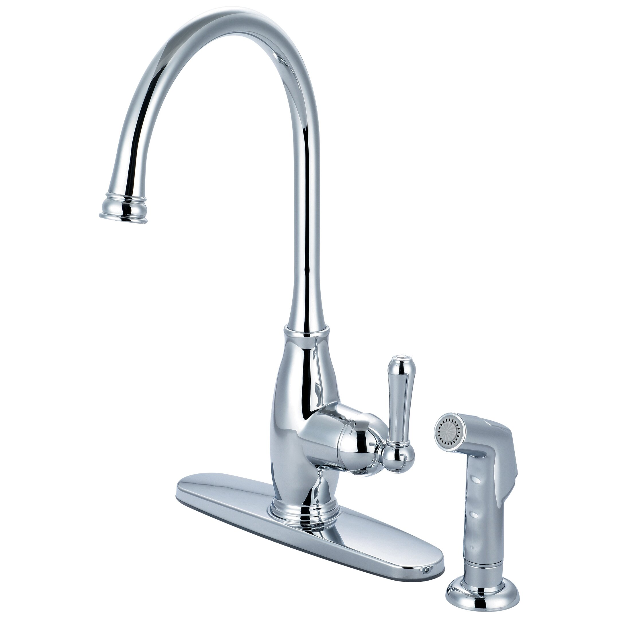 single handle kitchen faucet with deck cover plate and
