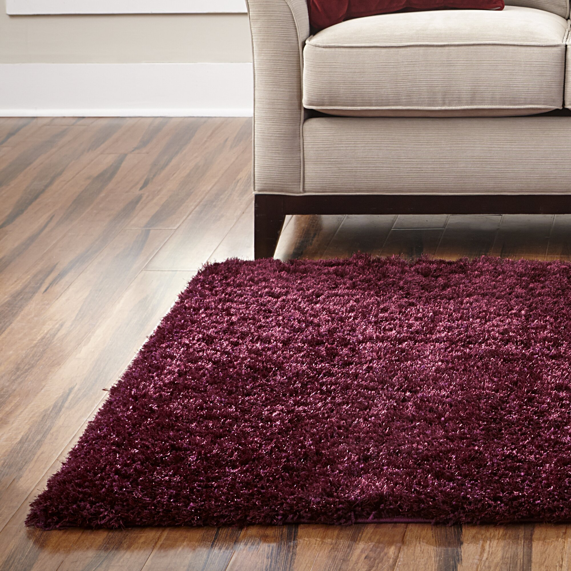 Welspun Spaces Homebeyond 169 Eyelash Shag Maroon Area Rug