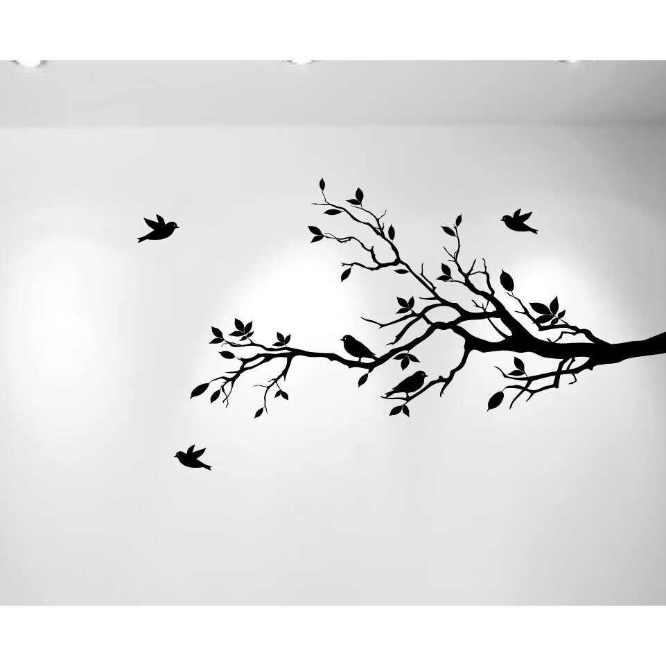 innovative stencils tree branches with leaves and love tree branches birds wall art free squeegee decal sticker