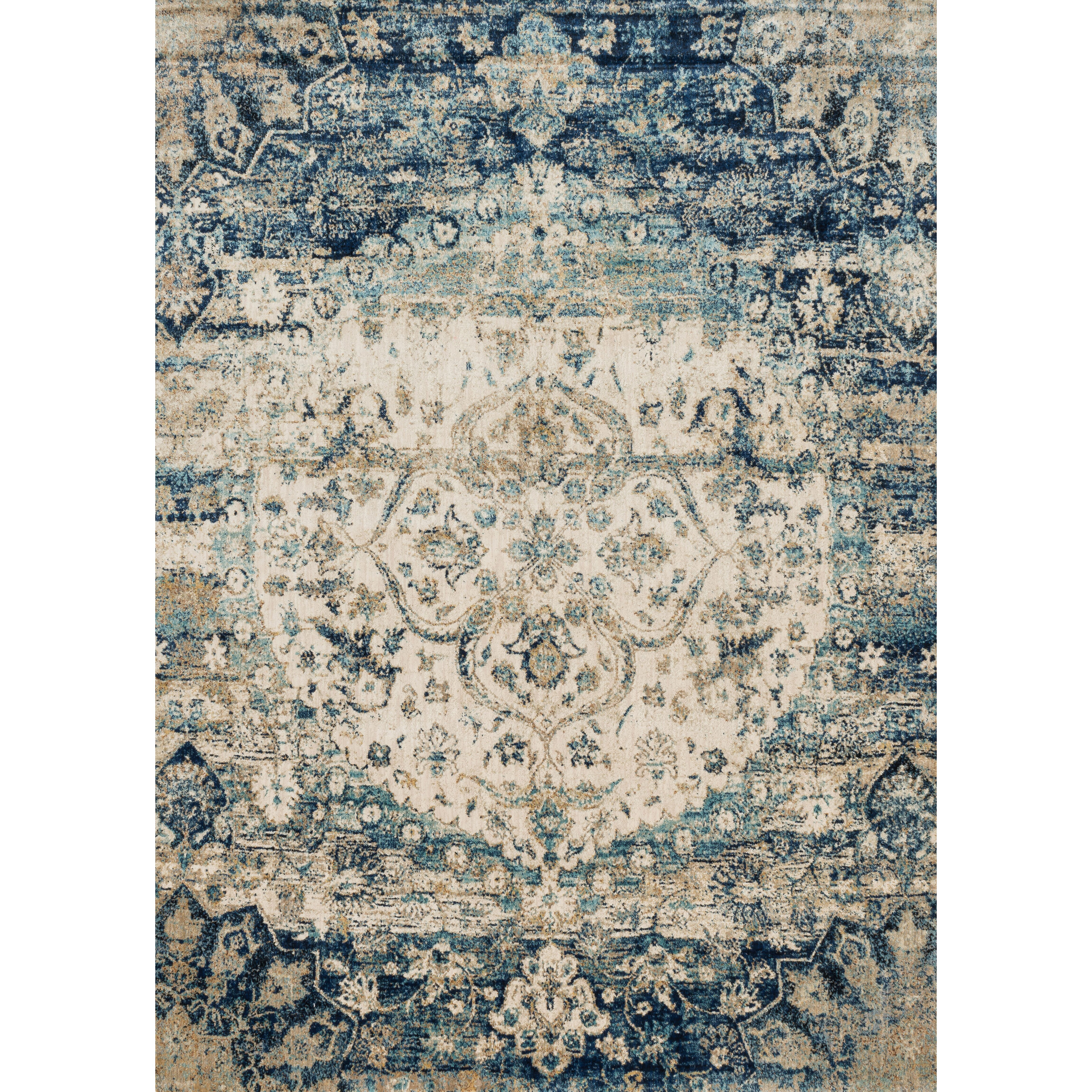 The Conestoga Trading Co Hand Woven Blue Ivory Area Rug