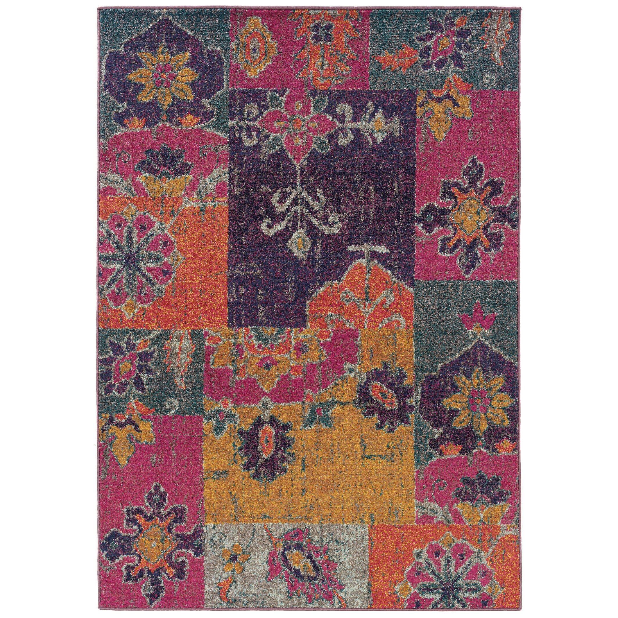 Aura Floral Ikat Multi/Pink Area Rug