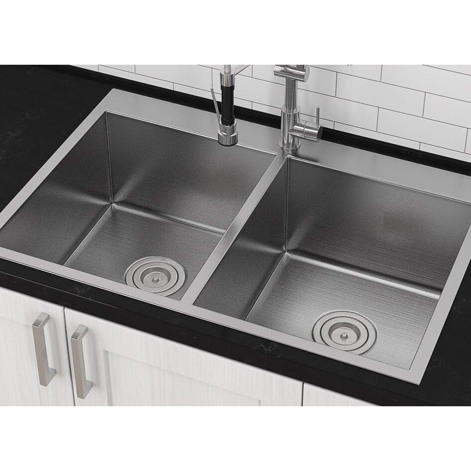 "Top Mount Sink Kitchen: Master Series 33"" X 22"" Top Mount Double Bowl Kitchen Sink"