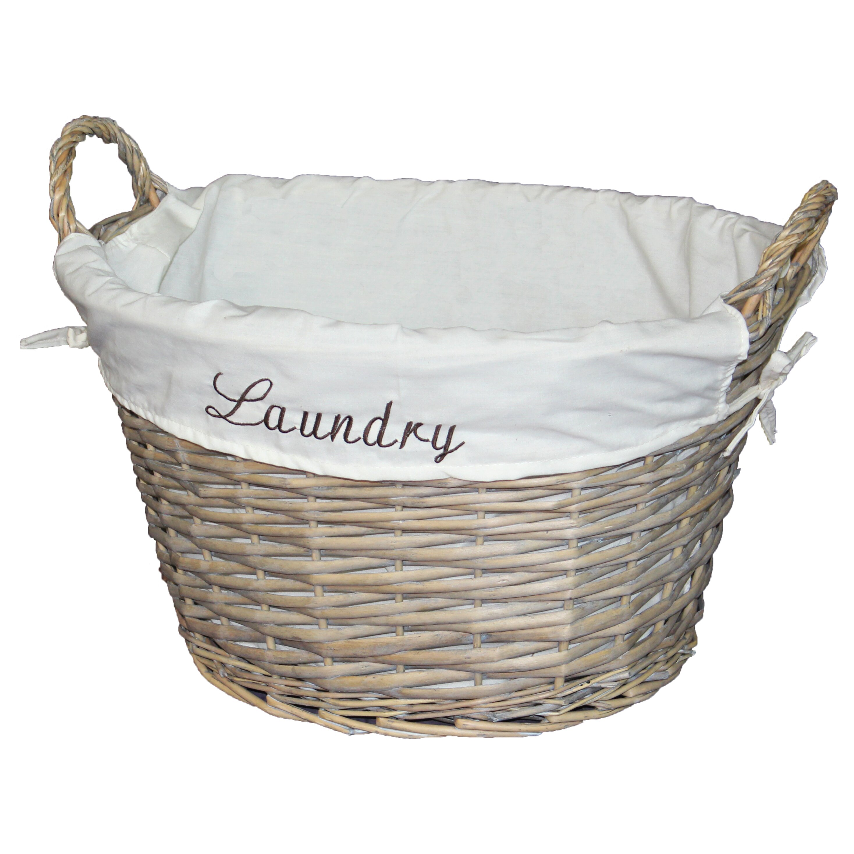 vintiquewise wicker laundry basket with white liner. Black Bedroom Furniture Sets. Home Design Ideas