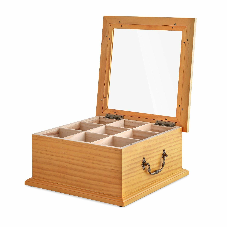 Wooden-Tea-Box-Tea-Storage-Gourmet-Tea-Bag-Organizer-and-Holder-Clear ...