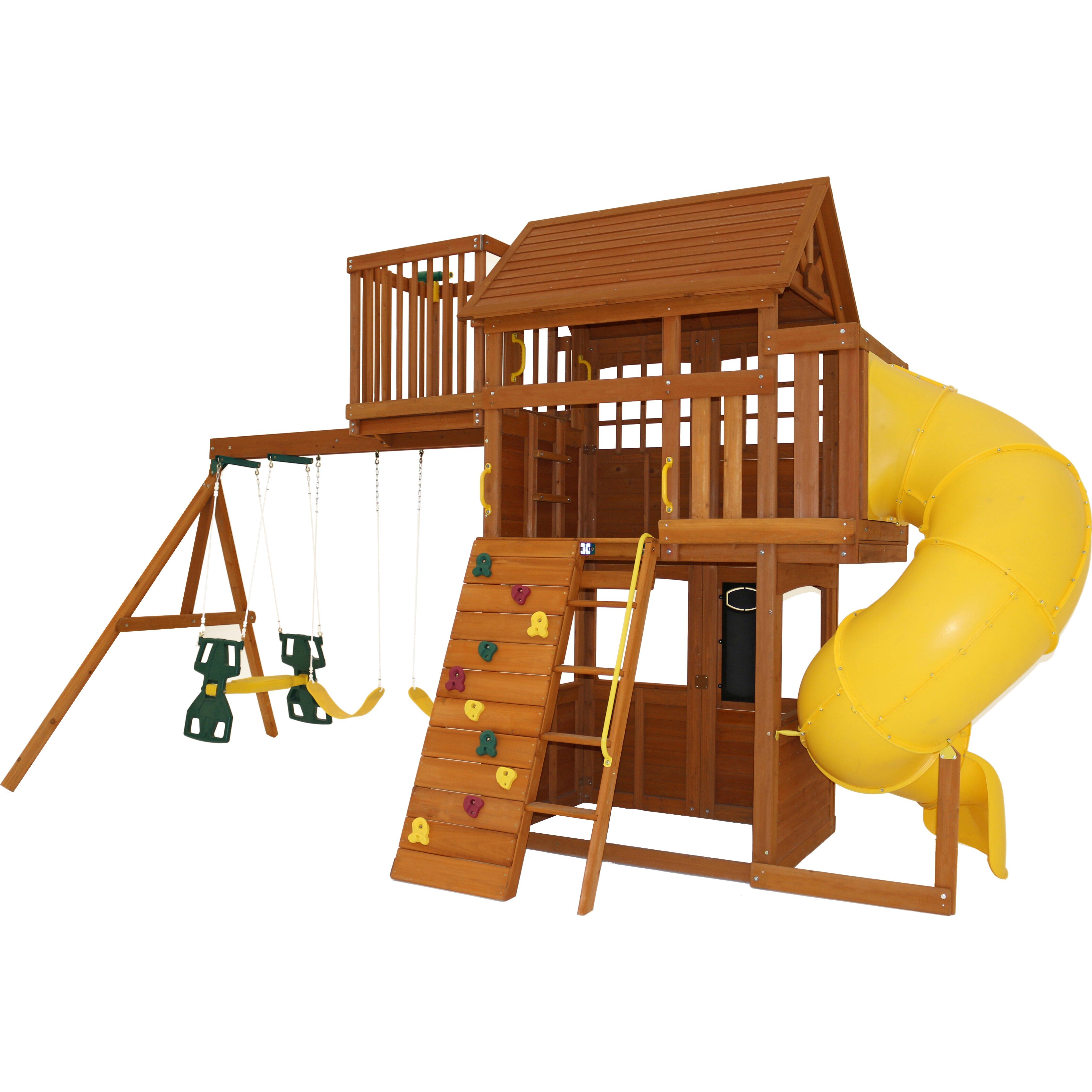 abbeydale clubhouse wooden swing set wayfair. Black Bedroom Furniture Sets. Home Design Ideas
