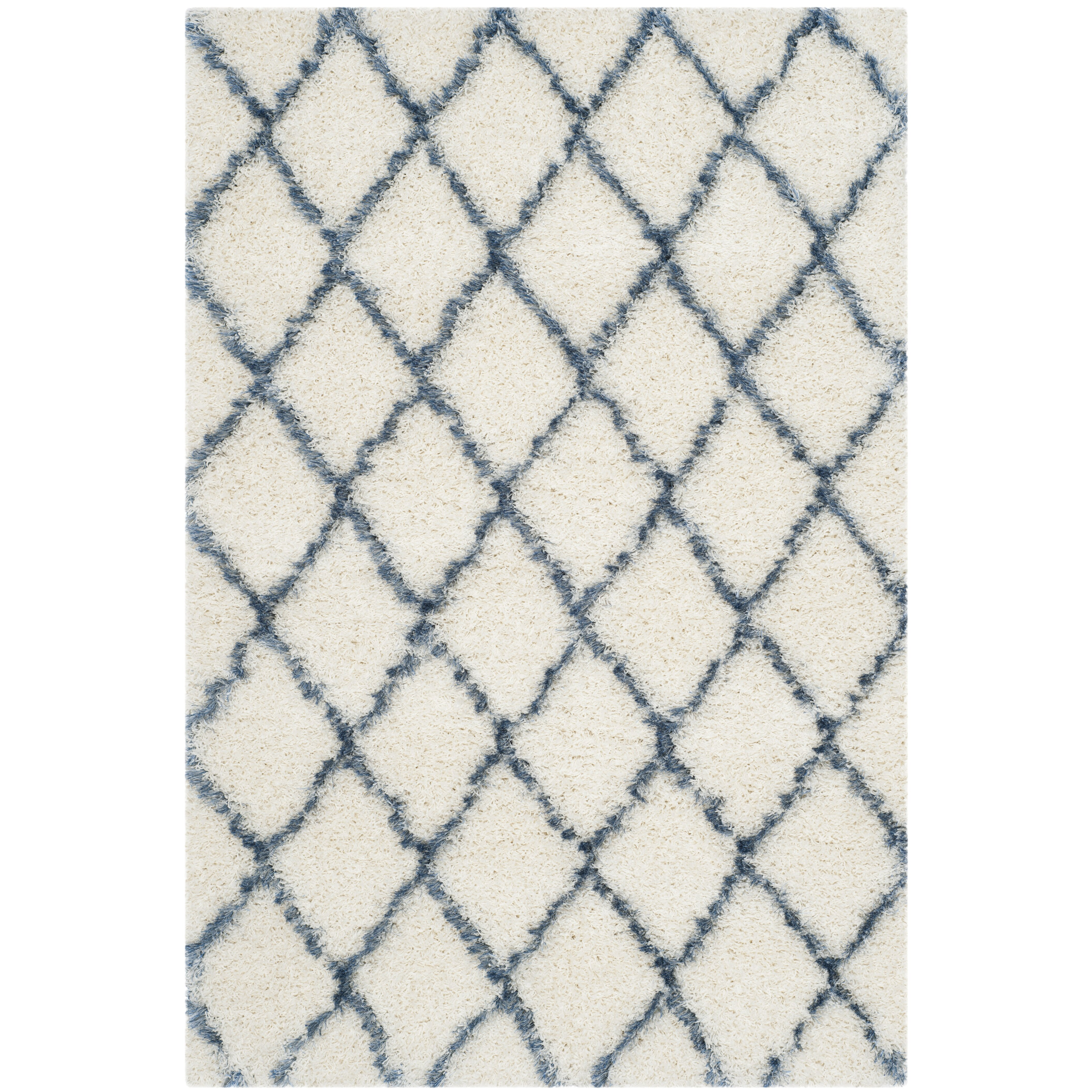 Safavieh Moroccan Blue And Black Area Rug: Safavieh Moroccan Shag Ivory & Blue Geometric Contemporary